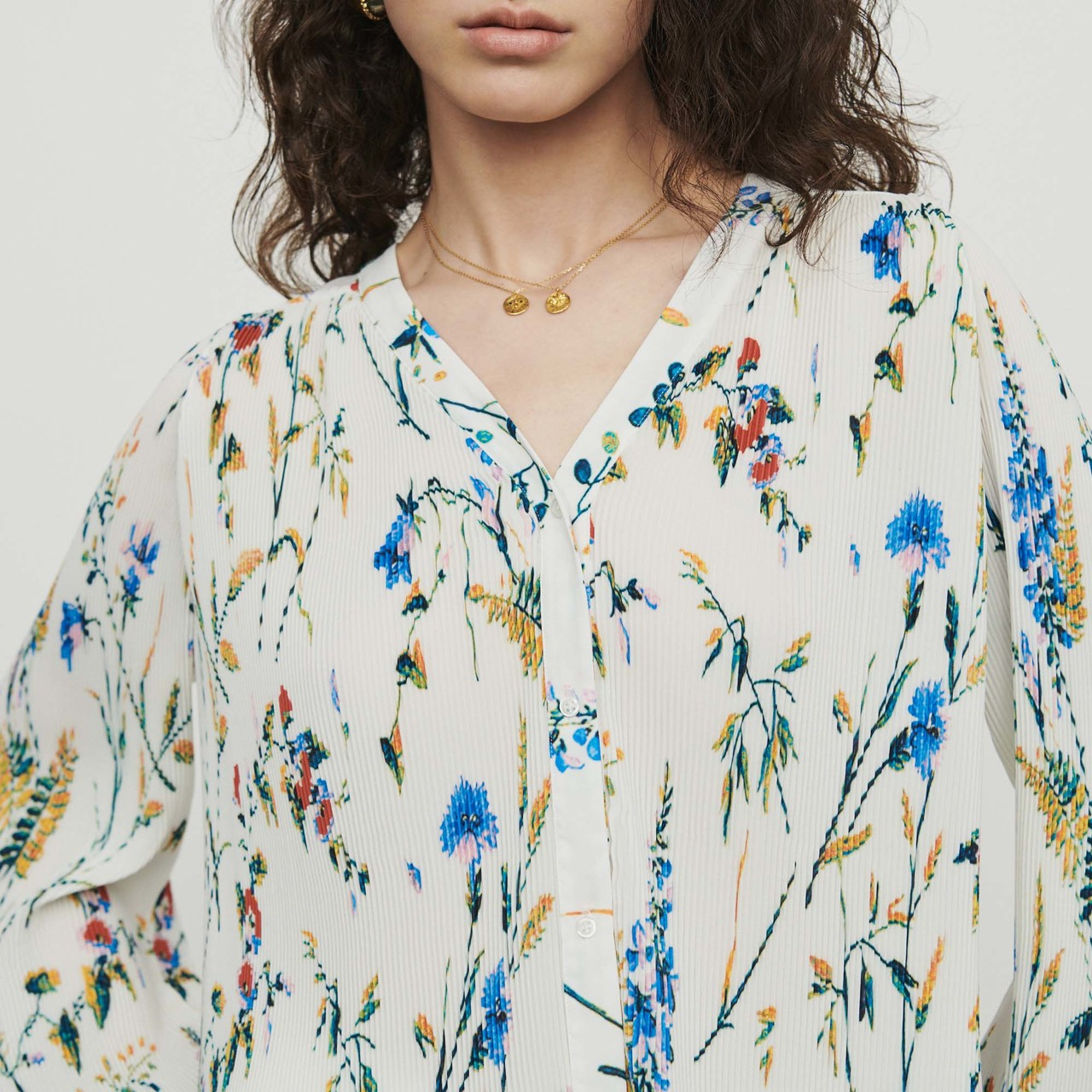 Pleated Printed Jewel Top - Print