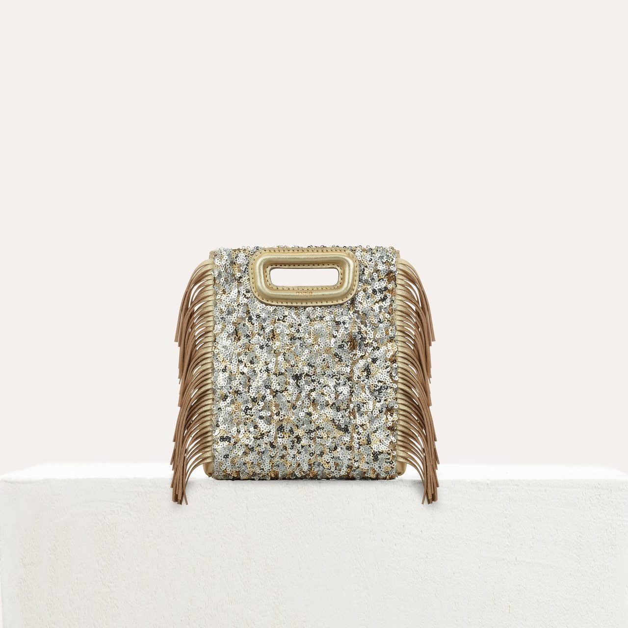 Mini M Bag In Sequins With Chain - Gold