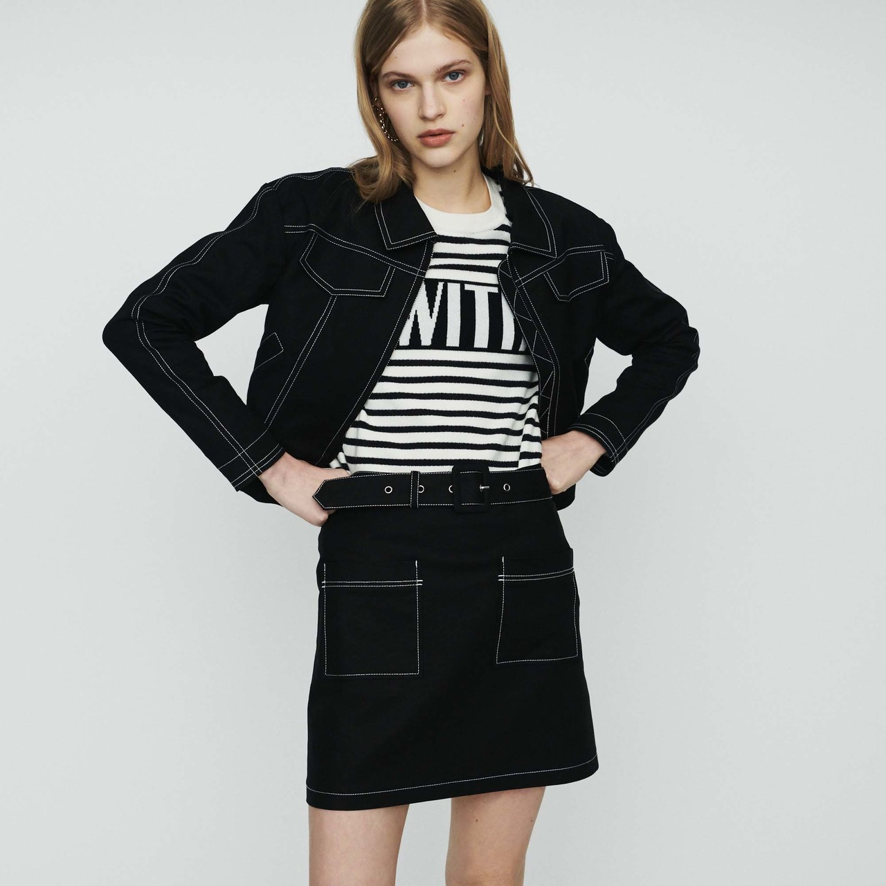 Cropped Jacket With Stitched Detailing  - Black