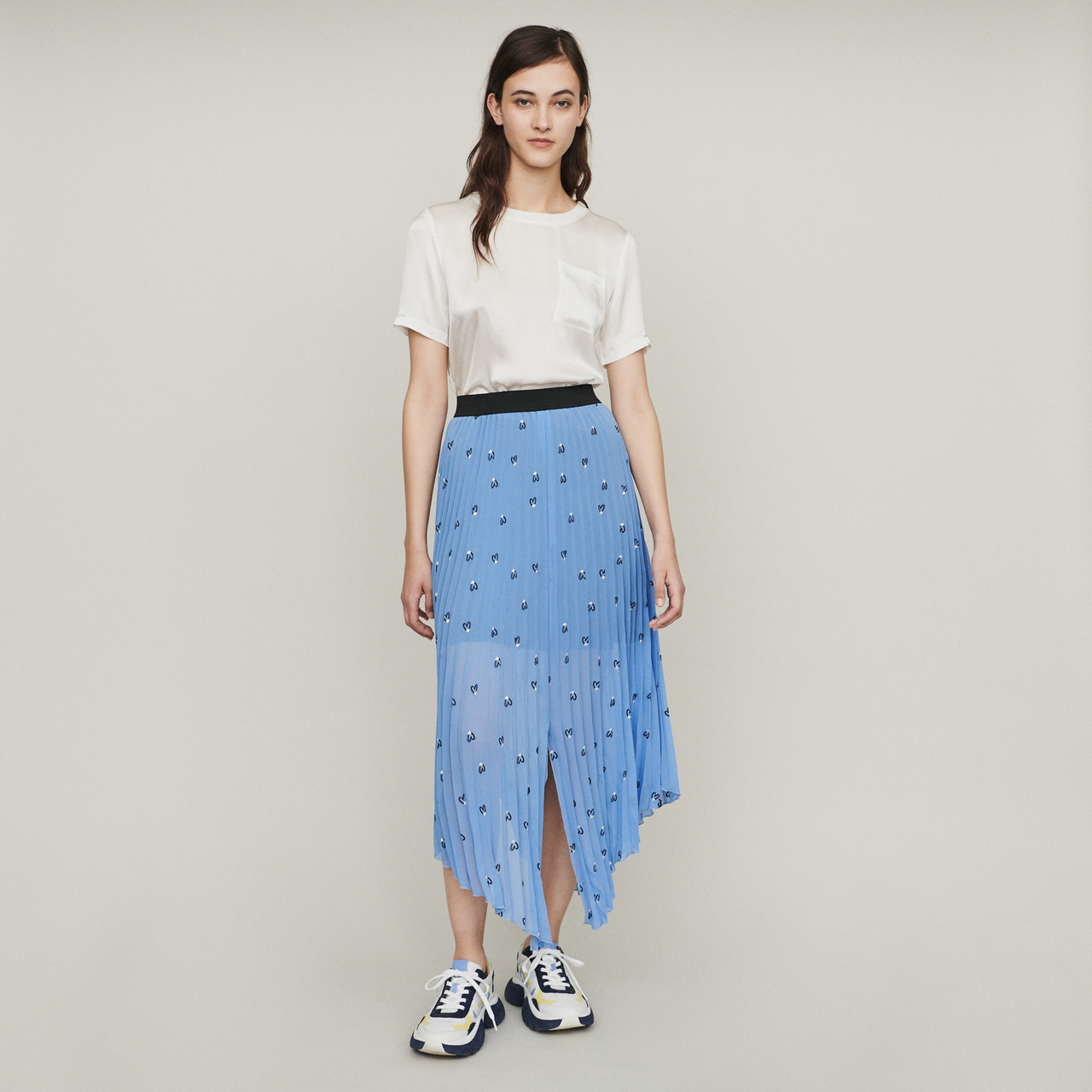 Long Pleated Embroidered Skirt - Blue