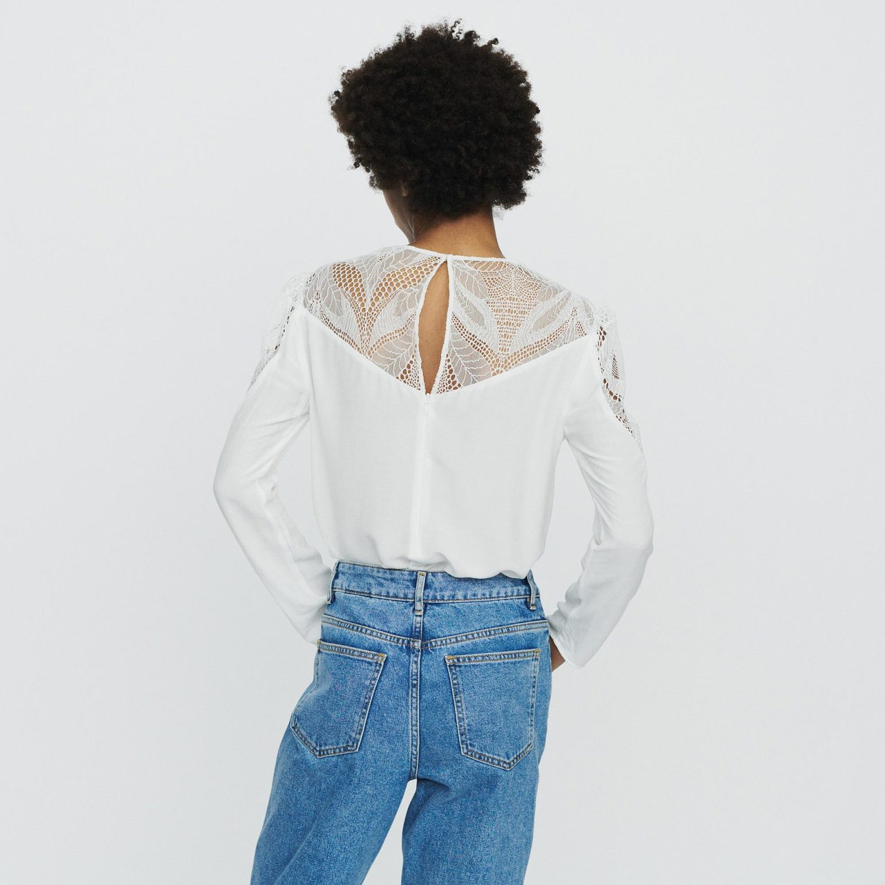 Top With Lace - White
