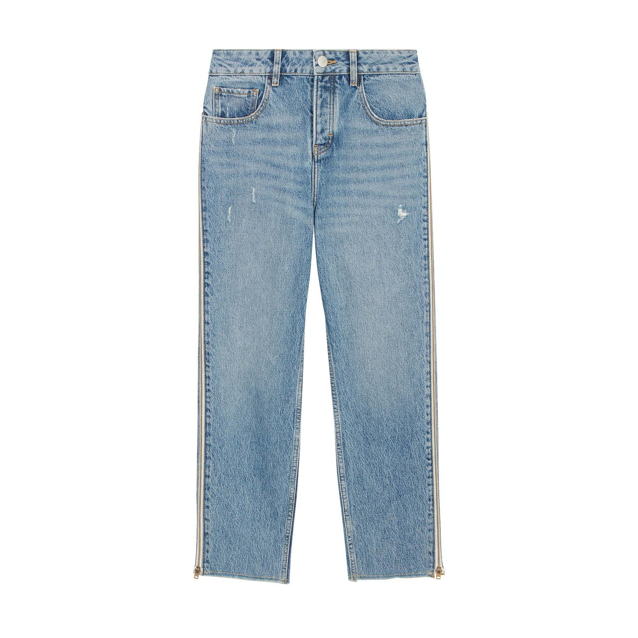 Straight Jeans With Zip - Denim