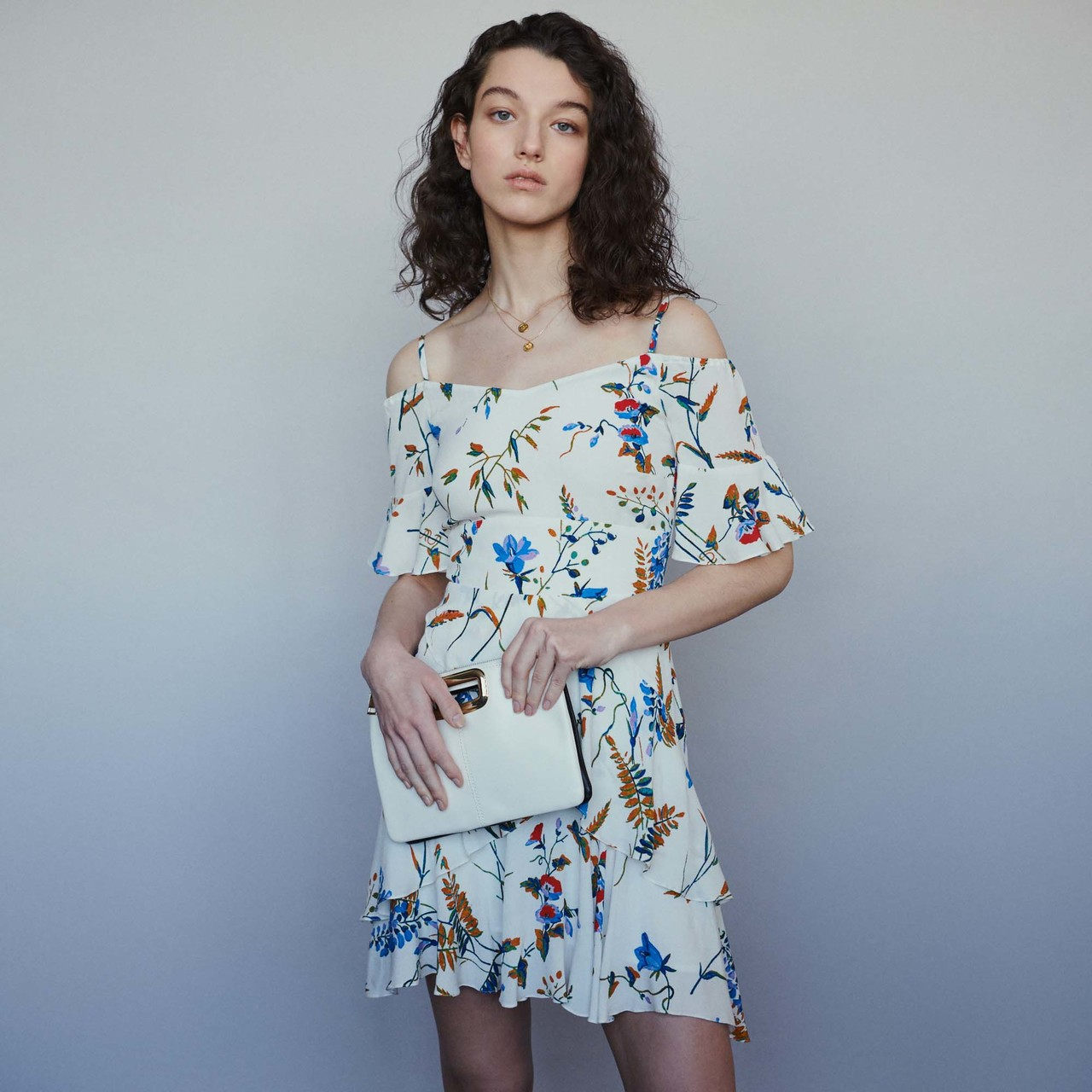 Short Printed Dress With Bare Shoulders