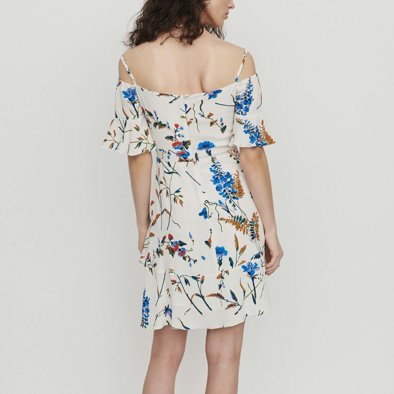 Short Printed Dress With Bare Shoulders  - Print