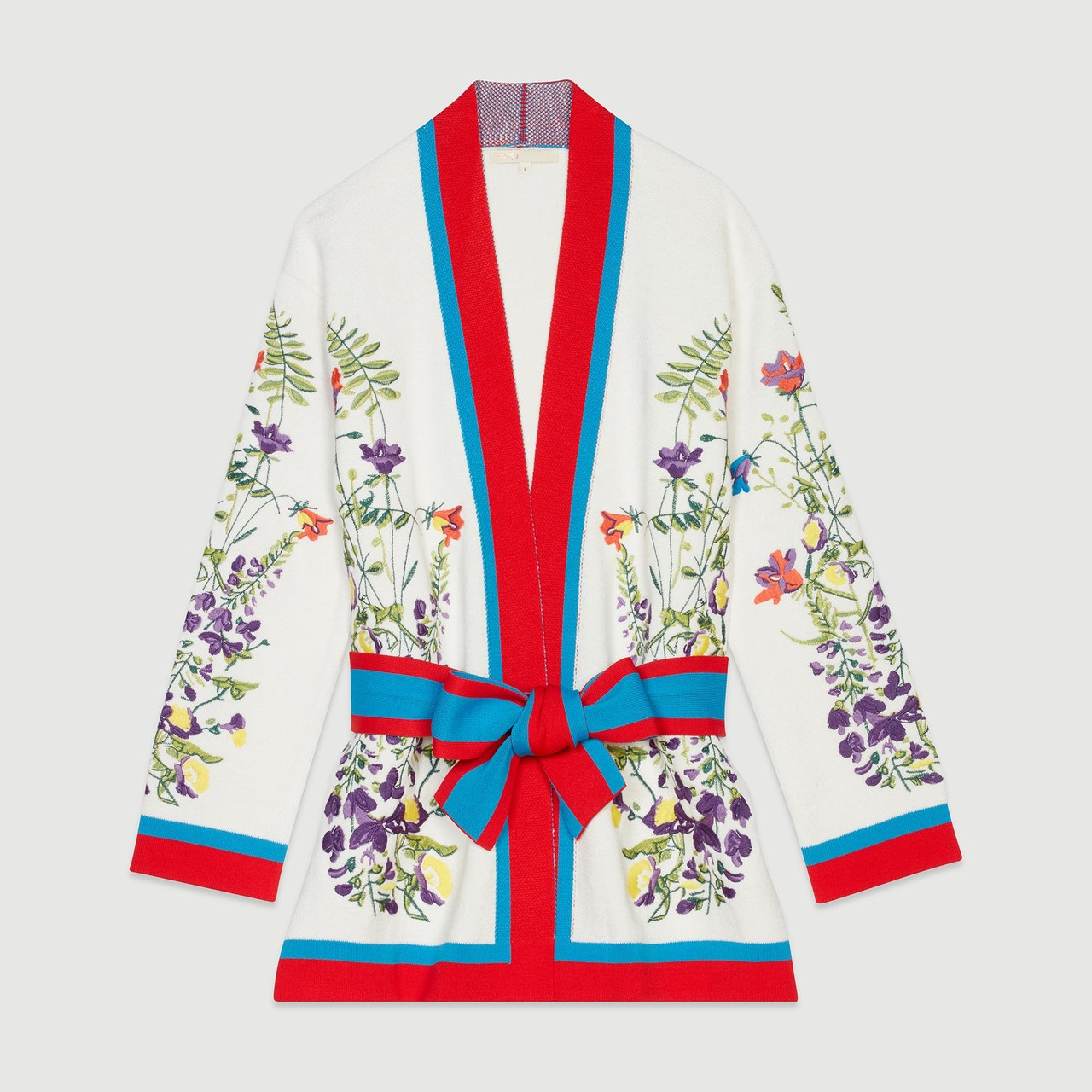 Cardigan With Floral Embroidery - Multiclr