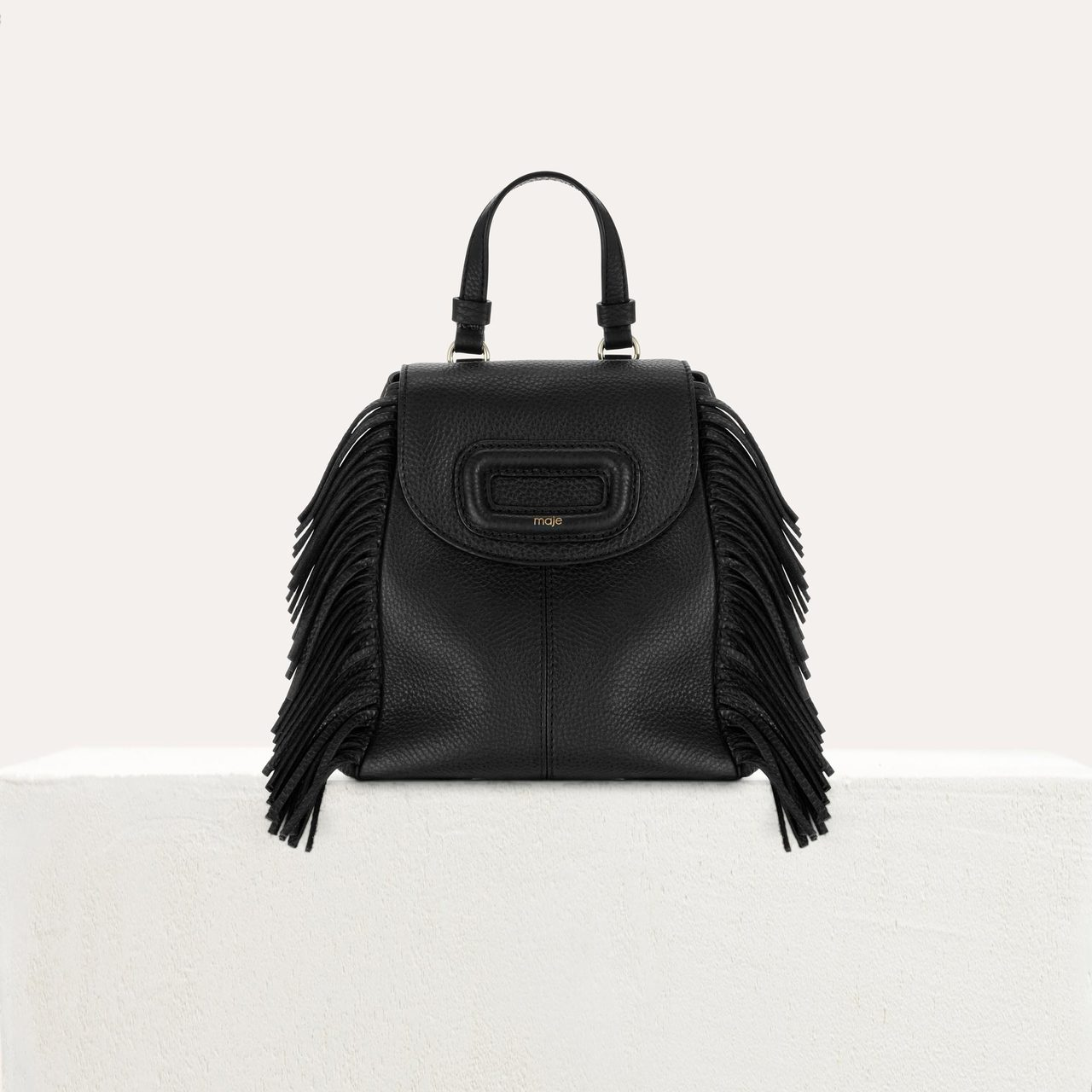 Mini M Backpack In Leather With Chain - Black
