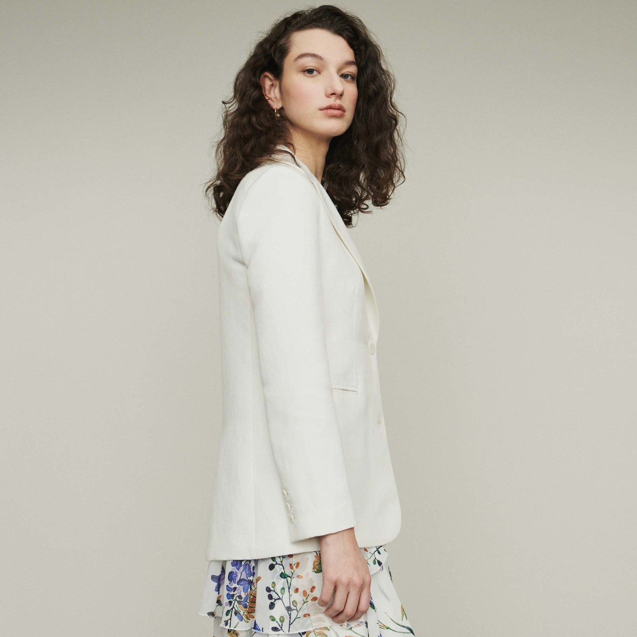 Suit Jacket In Wool Blend - White