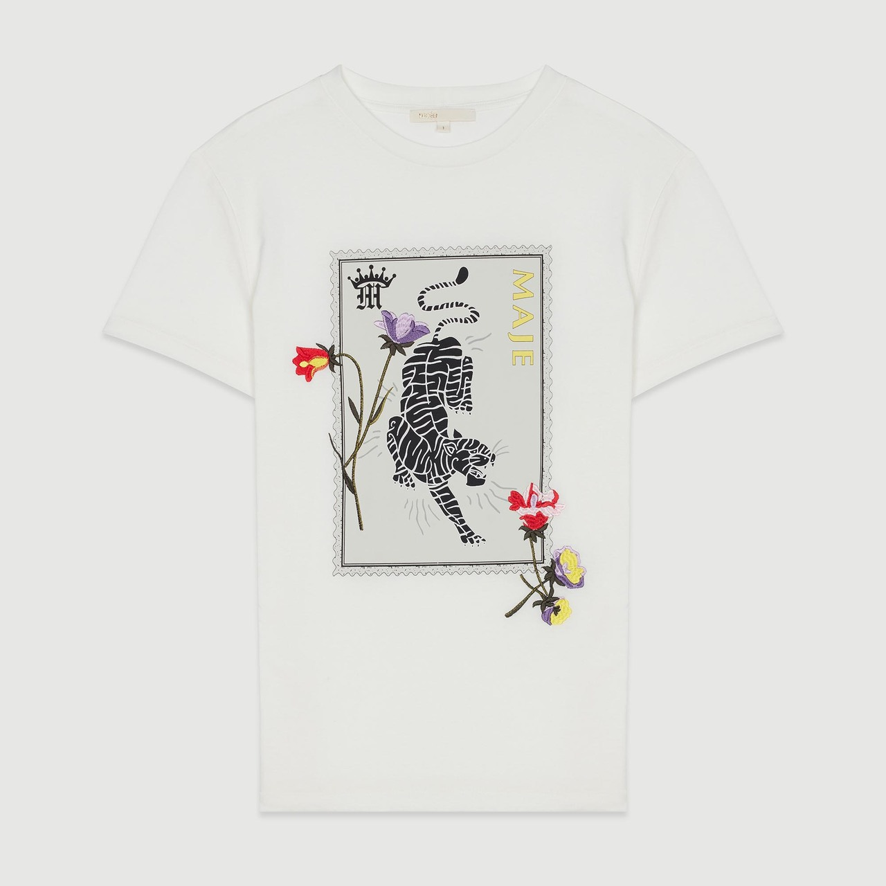 Printed Embroidered T Shirt - White