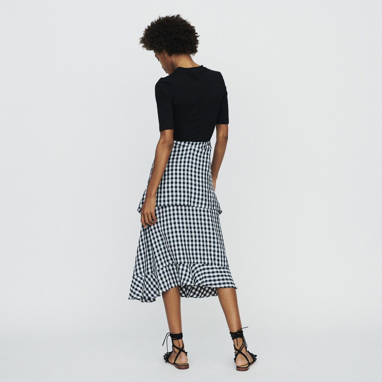 Bimaterial Midi Dress