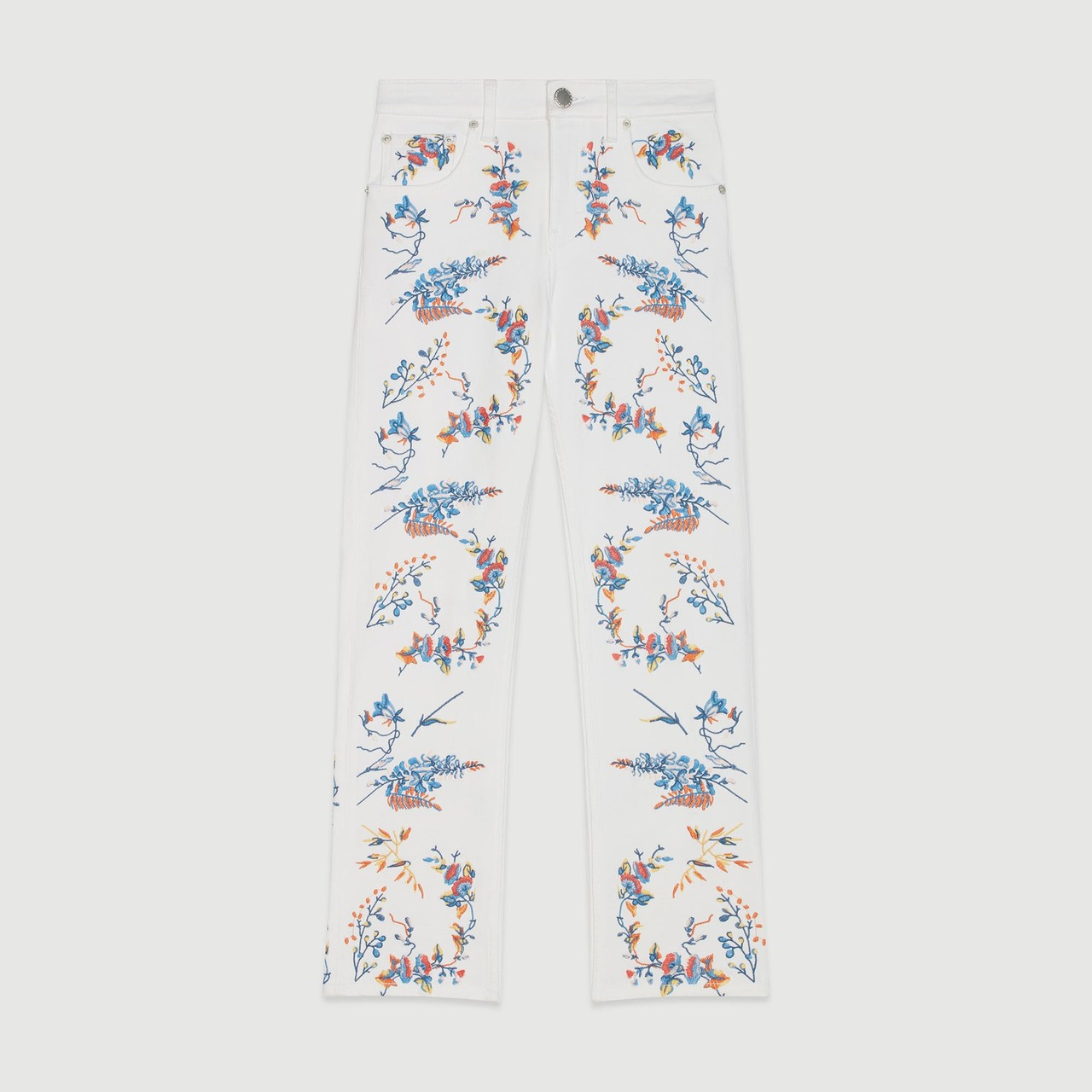 Straight Embroidered Jeans - Multiclr