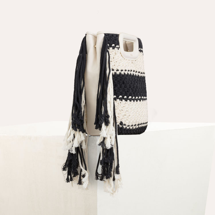 M Bag In Leather And Bicolor Knit - Black