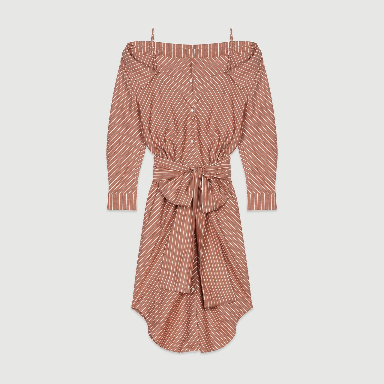 Striped Shirt Dress With Bare Shoulders - Terracotta