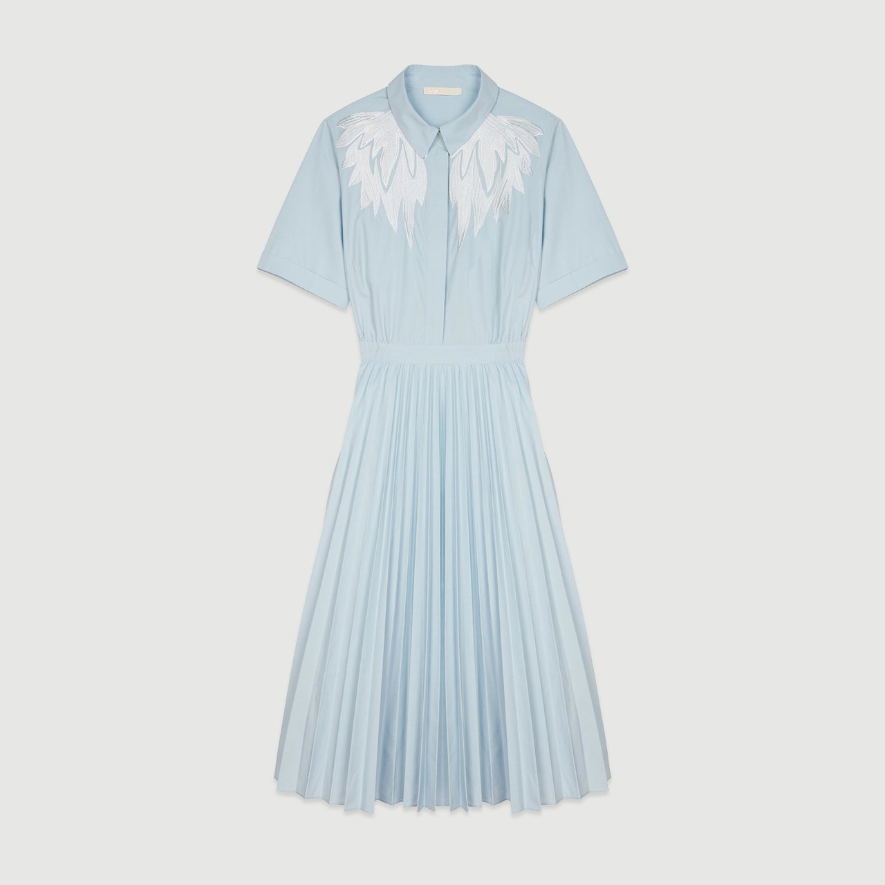Pleated shirt dress with back opening - Blue