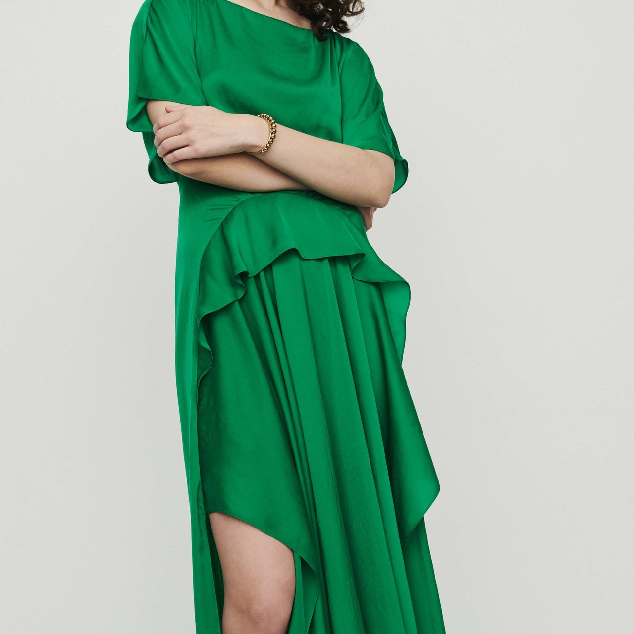 Long asymmetric dress - Green