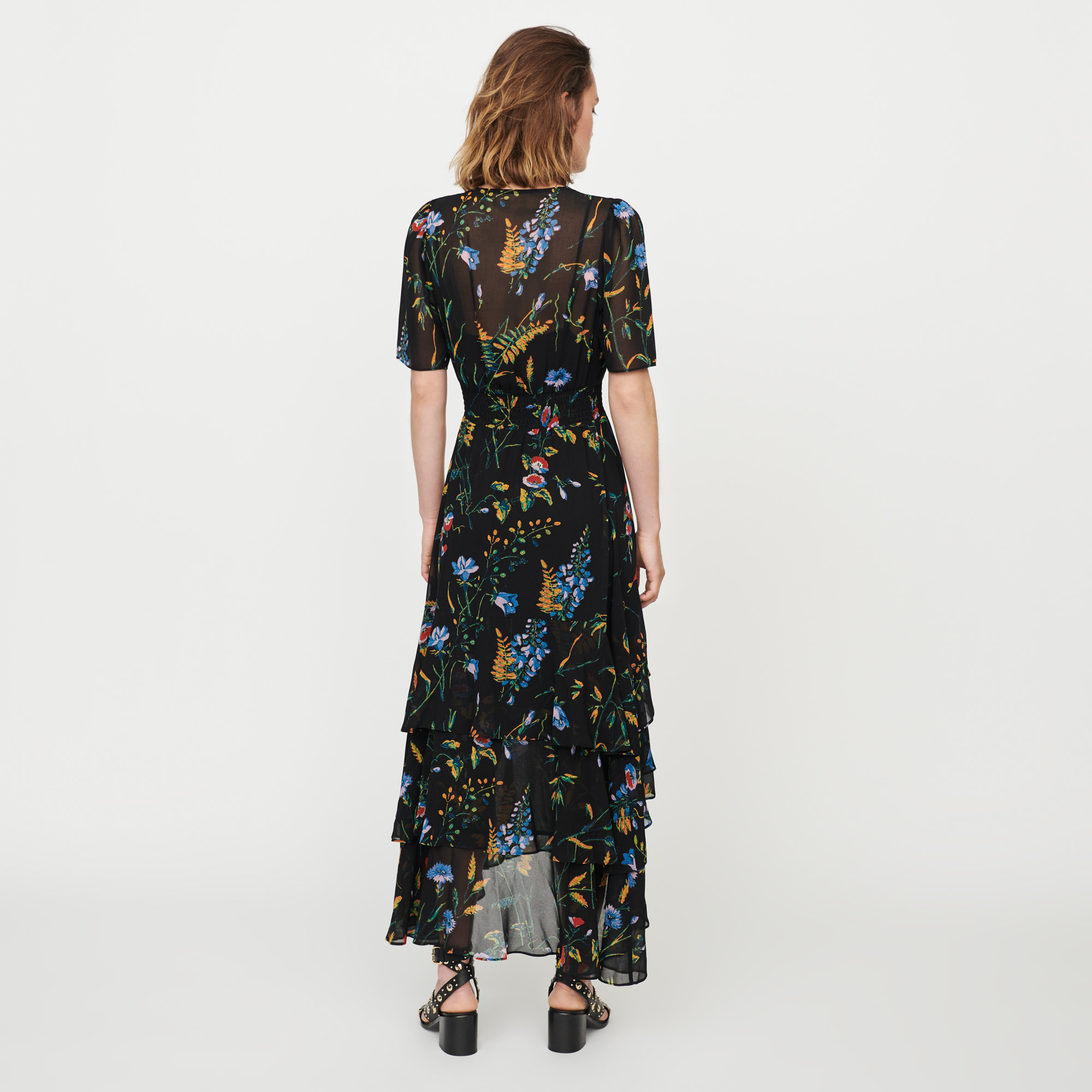 Long printed dress with ruffles - Black