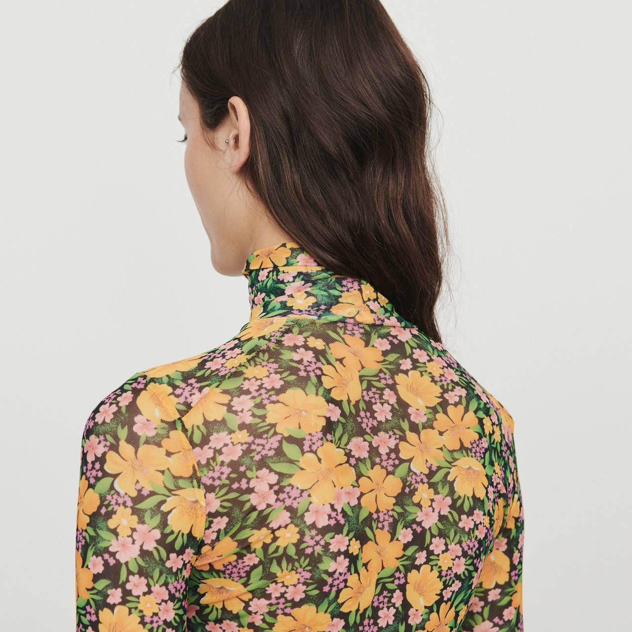 Printed T-shirt with round collar - Yellow