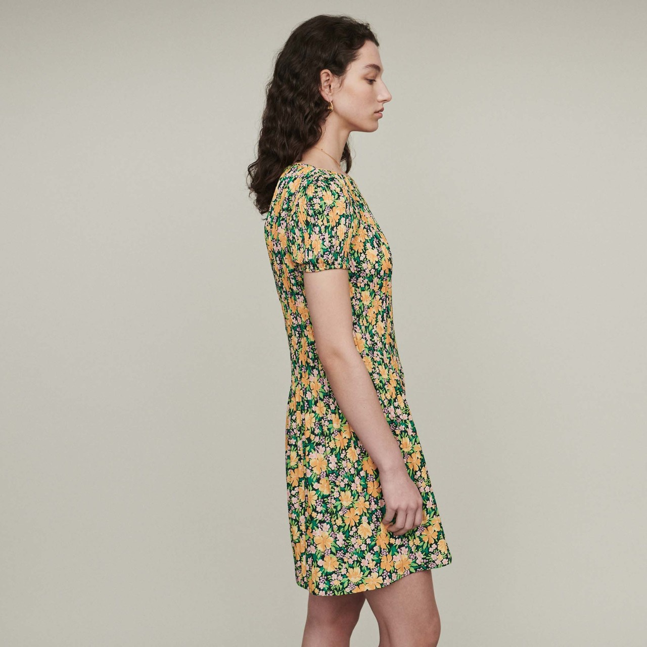 Pleated dress in floral print - Print