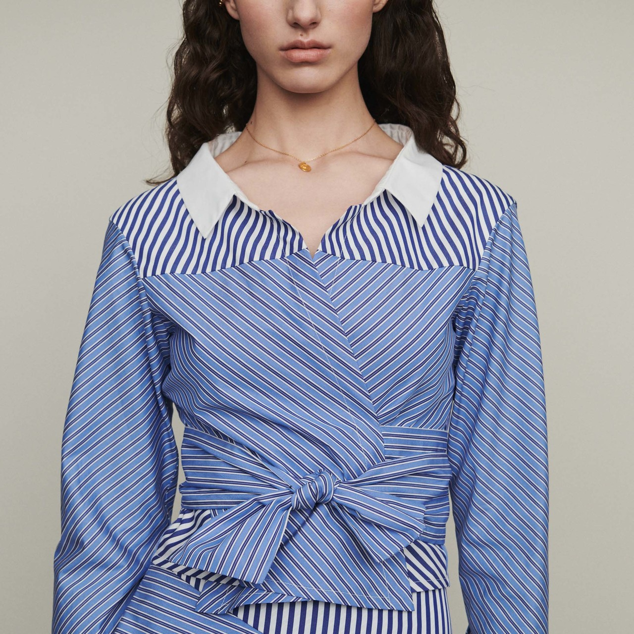 Cropped shirt-style top with tie - Stripe
