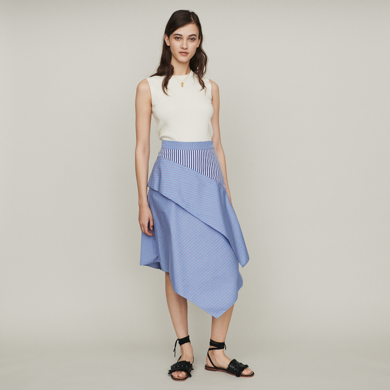 Striped cotton skirt - Stripe