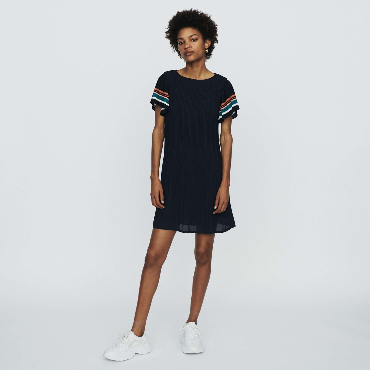 Pleated Dress With Contrasting Stripes - Navy