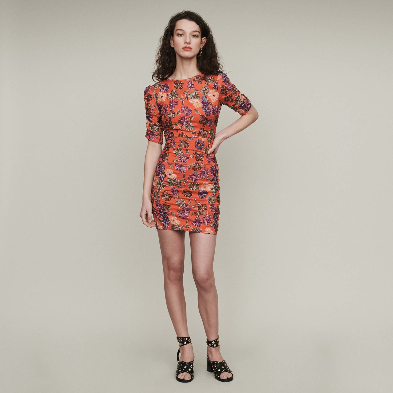 Sequin Embroidered Dress - Coral
