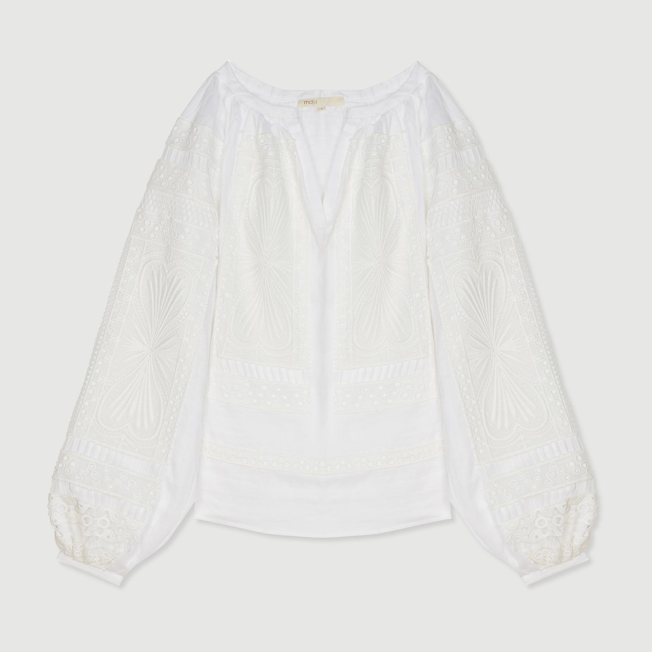 Blouse With Guipure  - White