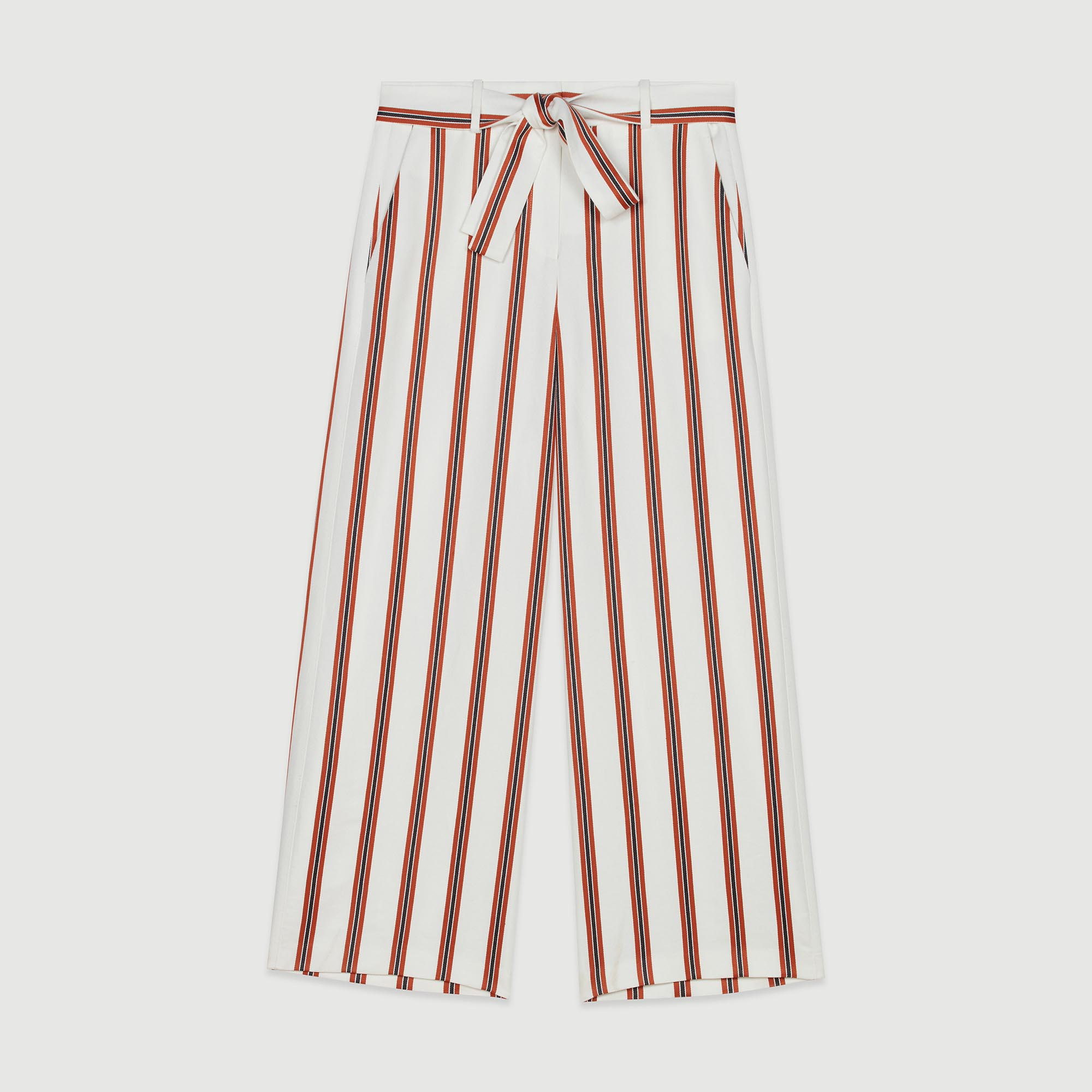 Wide Striped Pants With Belt - Stripe