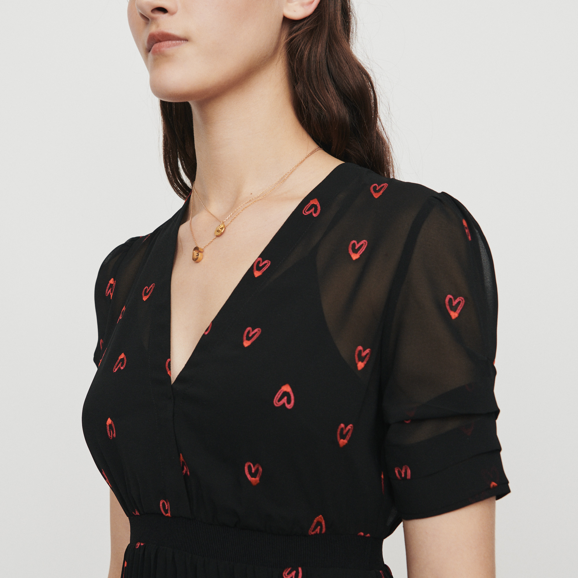 Dress with hearts embroidery - Black