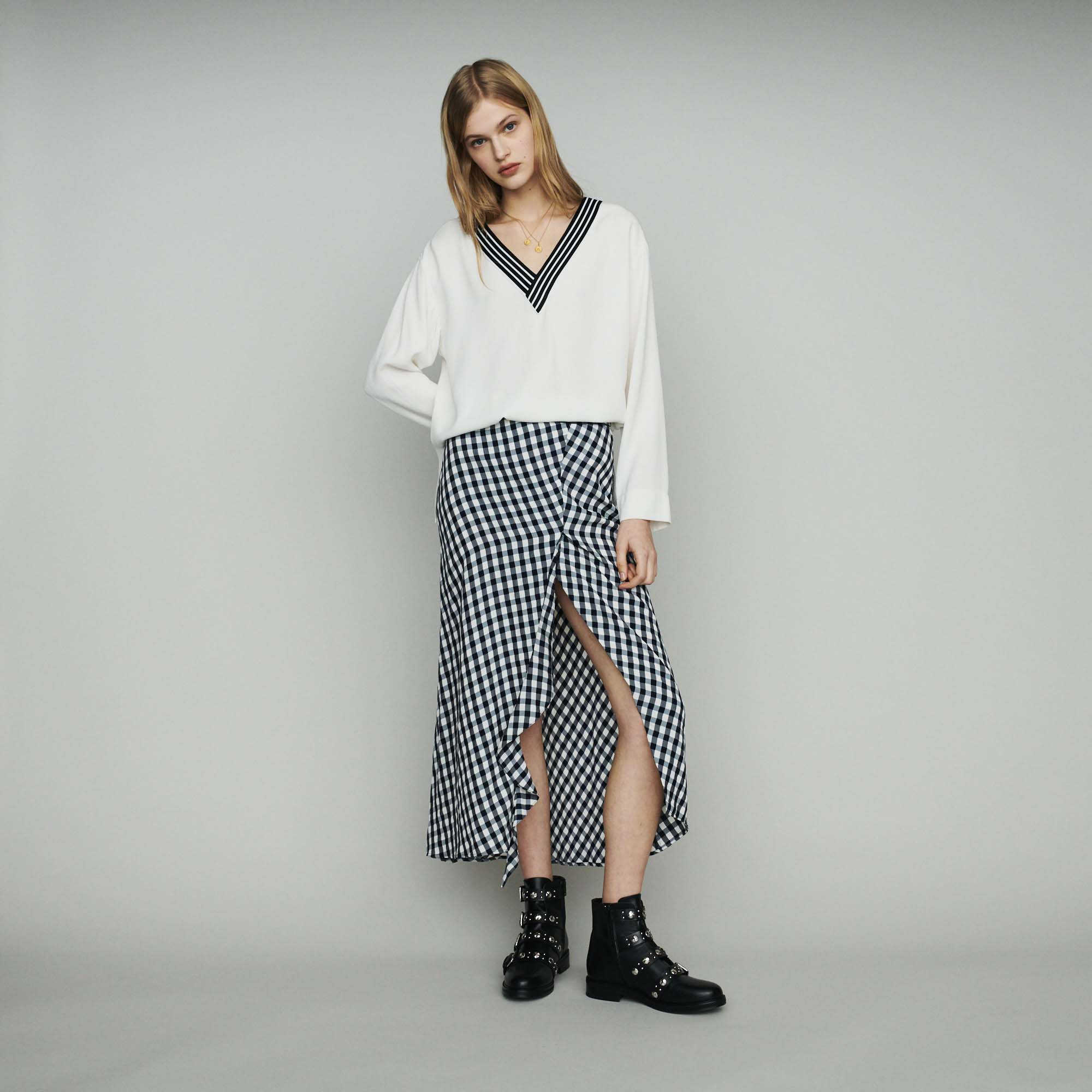 Crepe top with contrasting details - Ecru