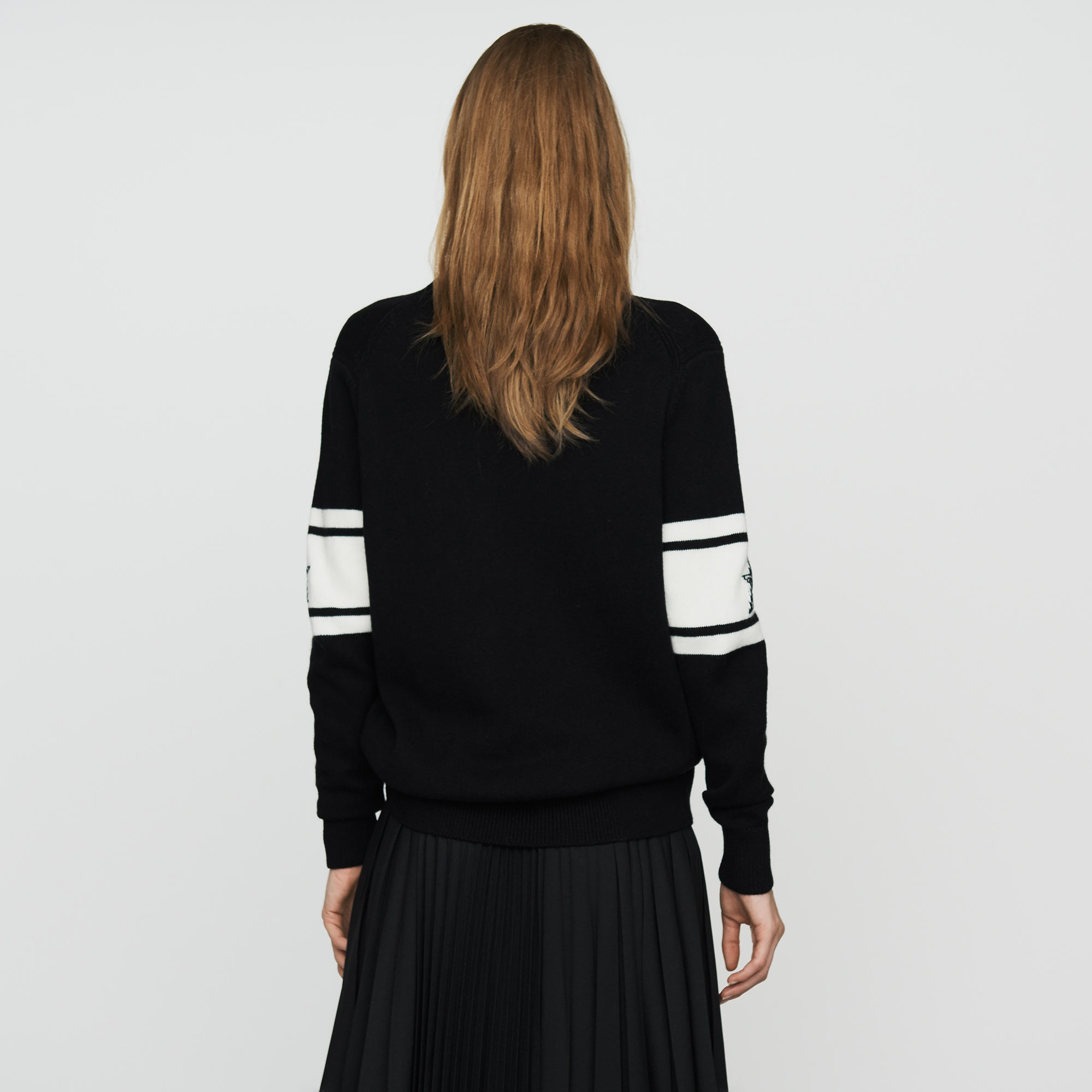 Oversize sweater in bicolor knit with stars - Black