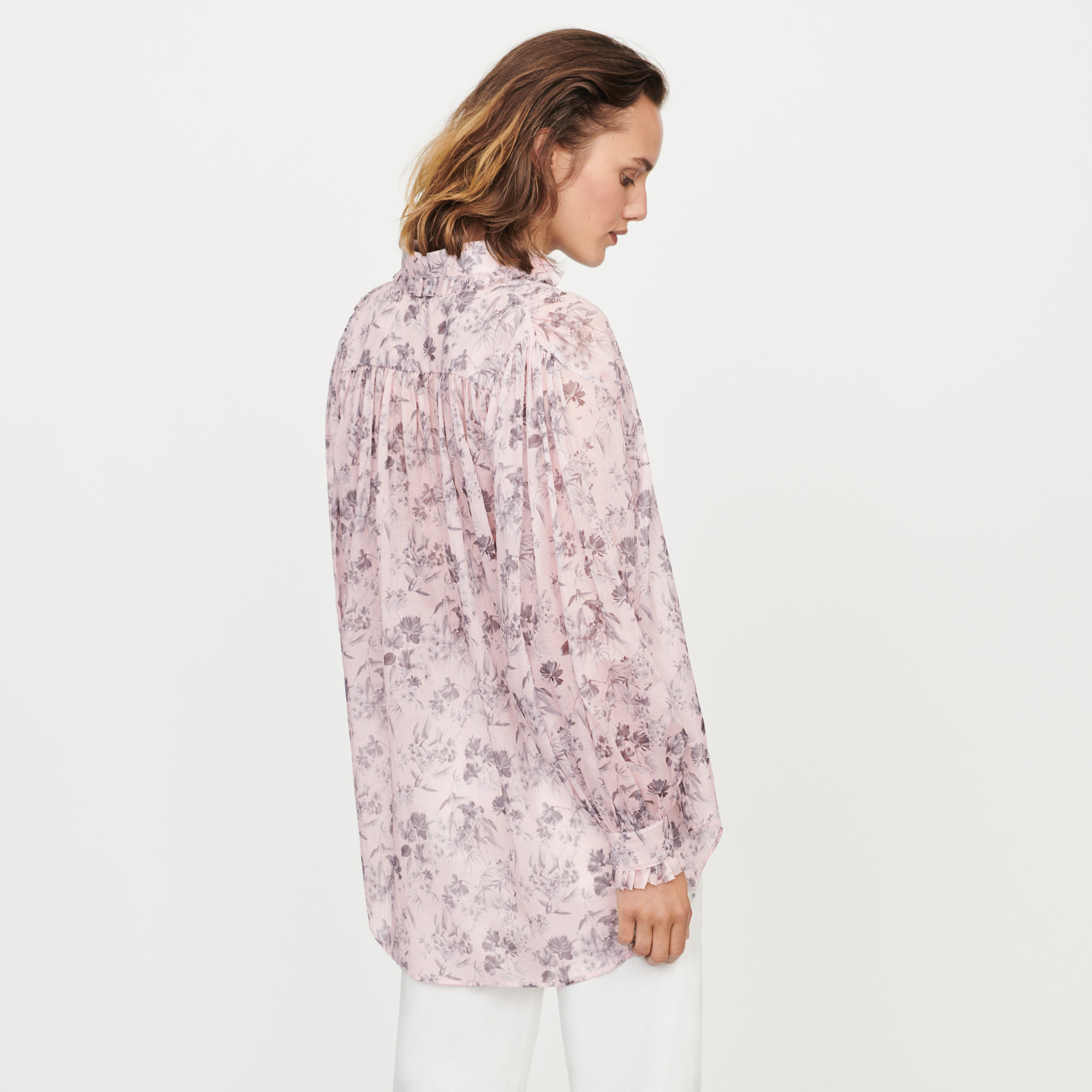 All over floral print voile shirt - Lilac