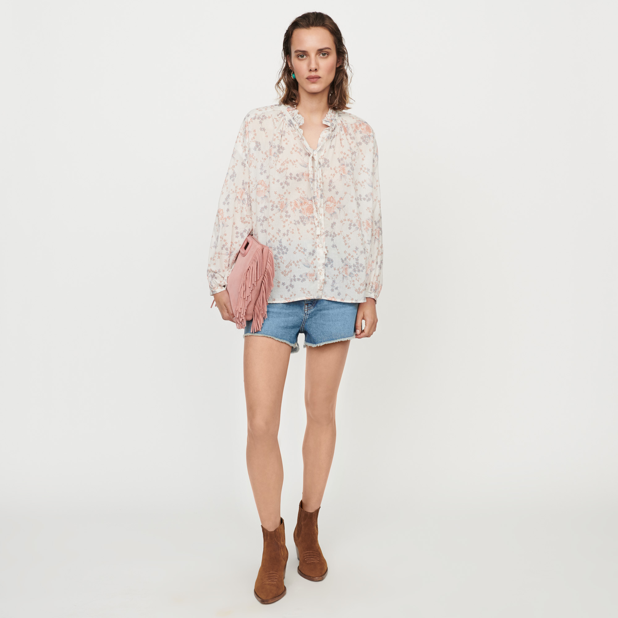 Printed cotton voile shirt - Pink