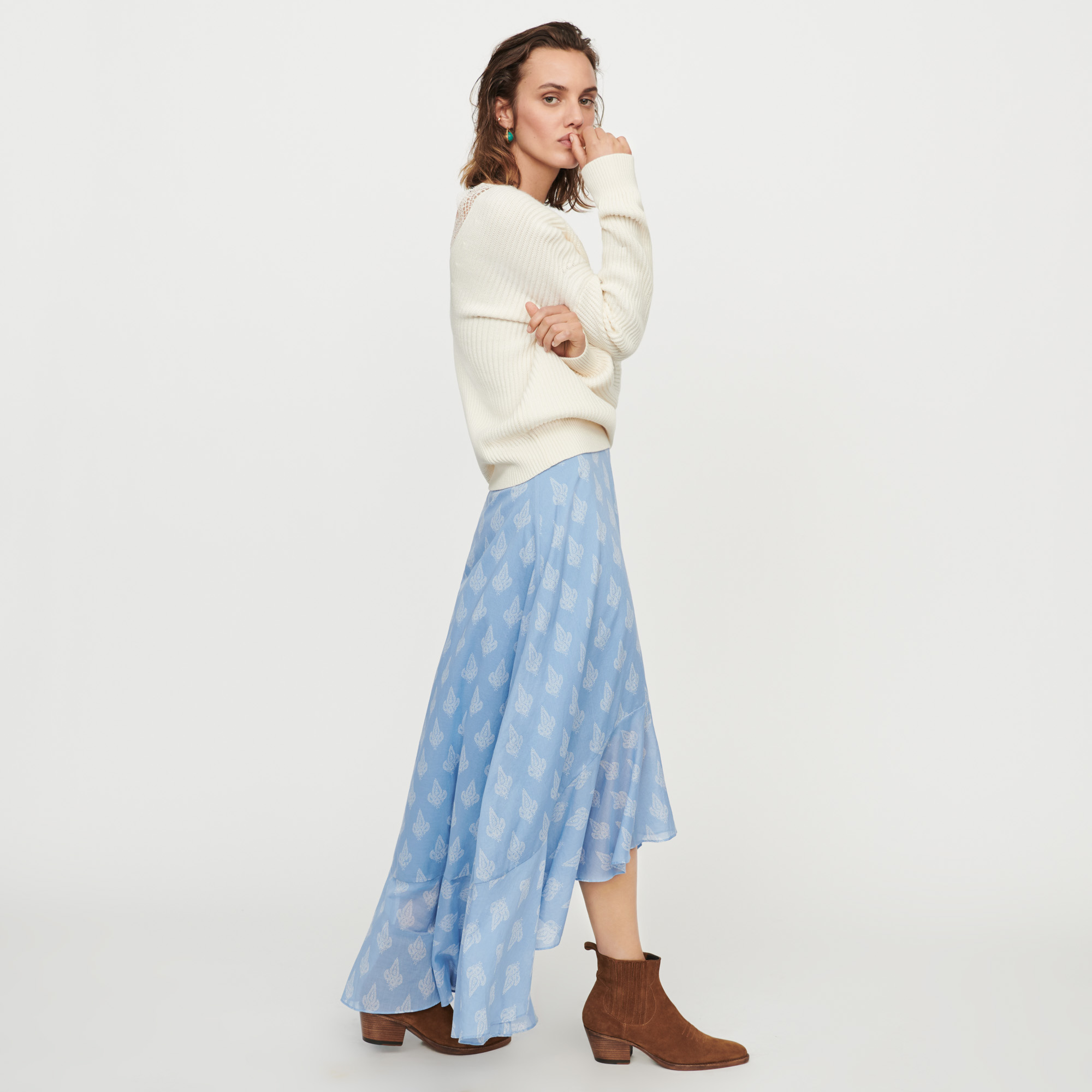 Long printed ruffle skirt  - Blue