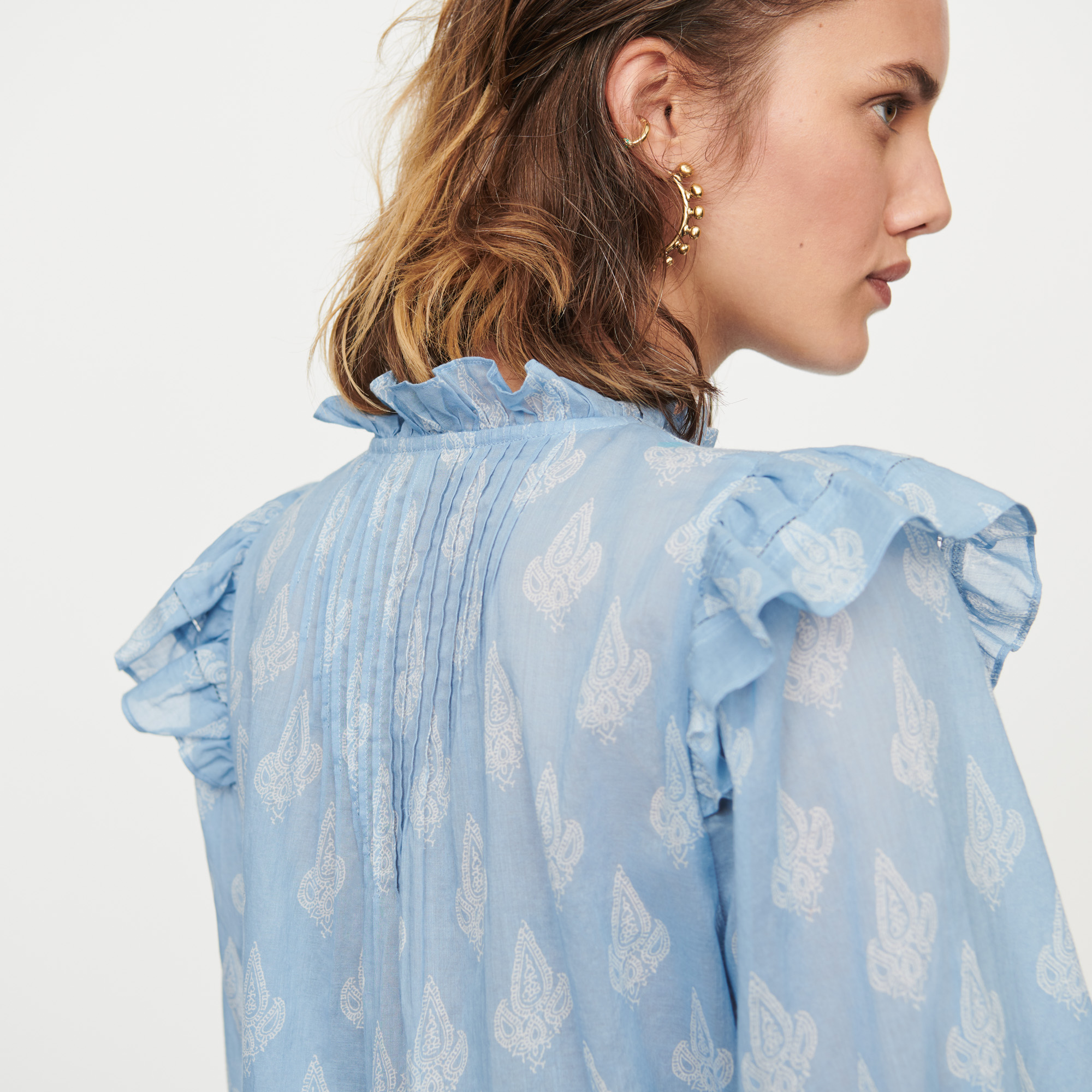 Printed-cotton voile ruffled top - Blue