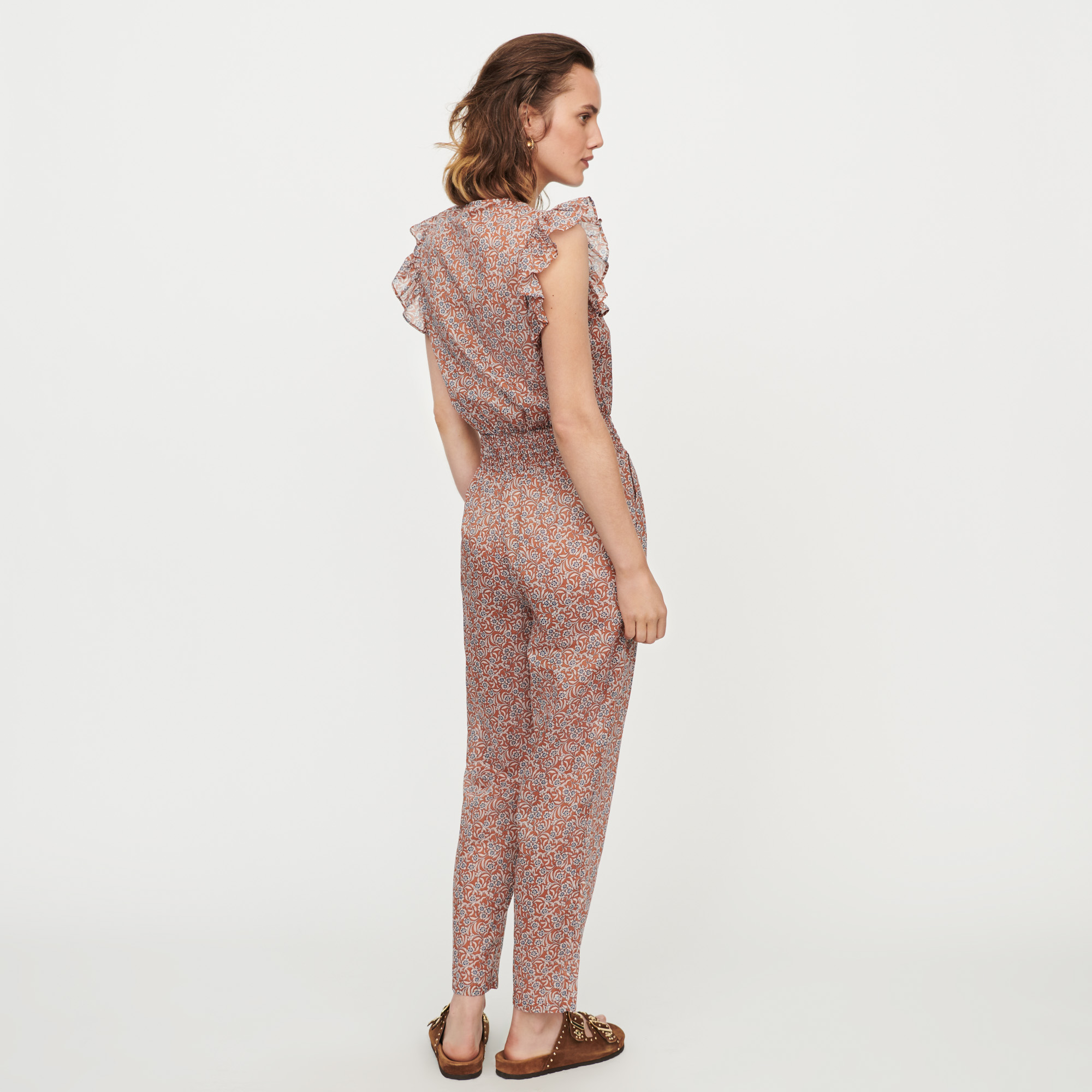 Floral-print cotton voile jumpsuit - Terracotta