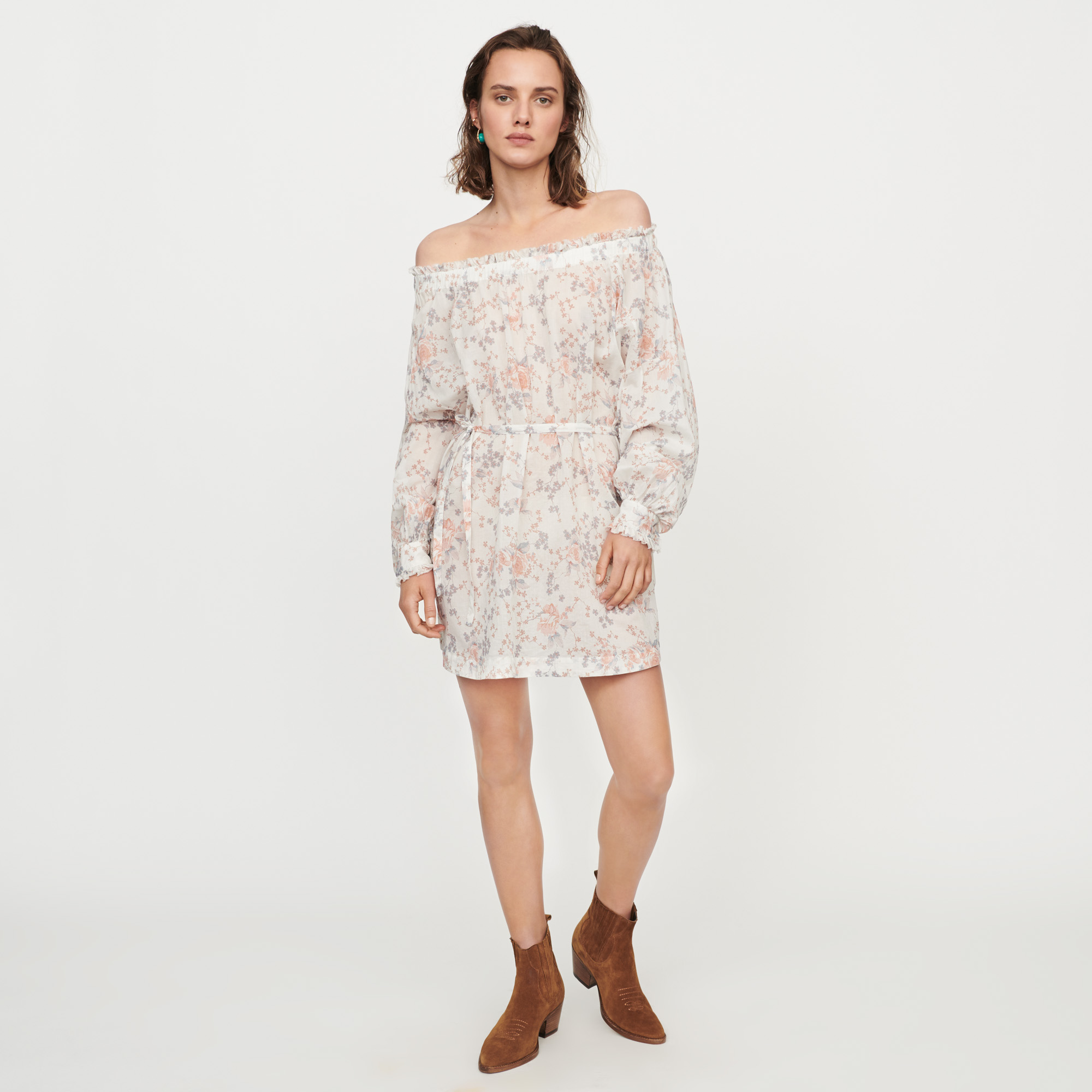 Printed-cotton voile smock dress - Pink