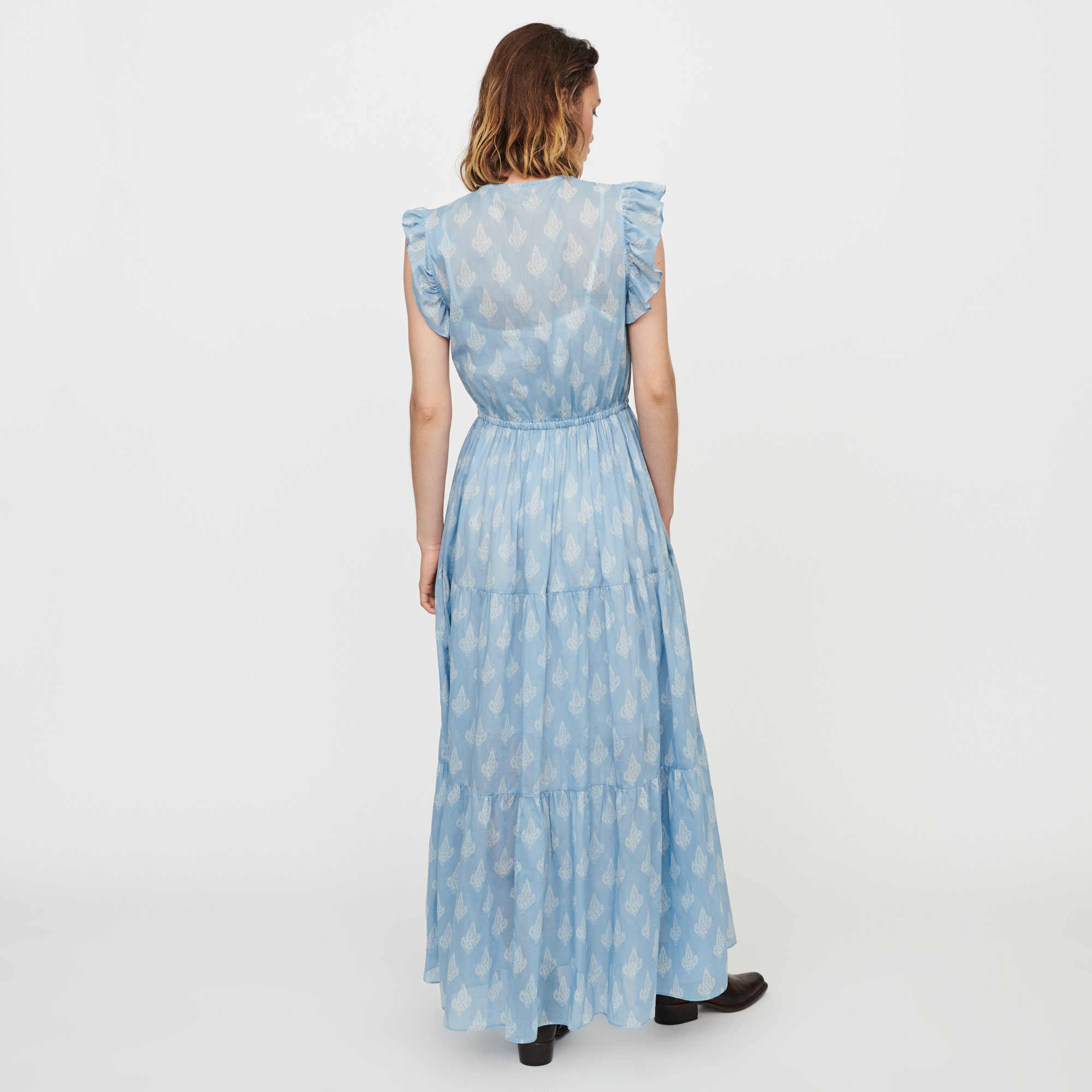 Long printed ruffled dress - Blue