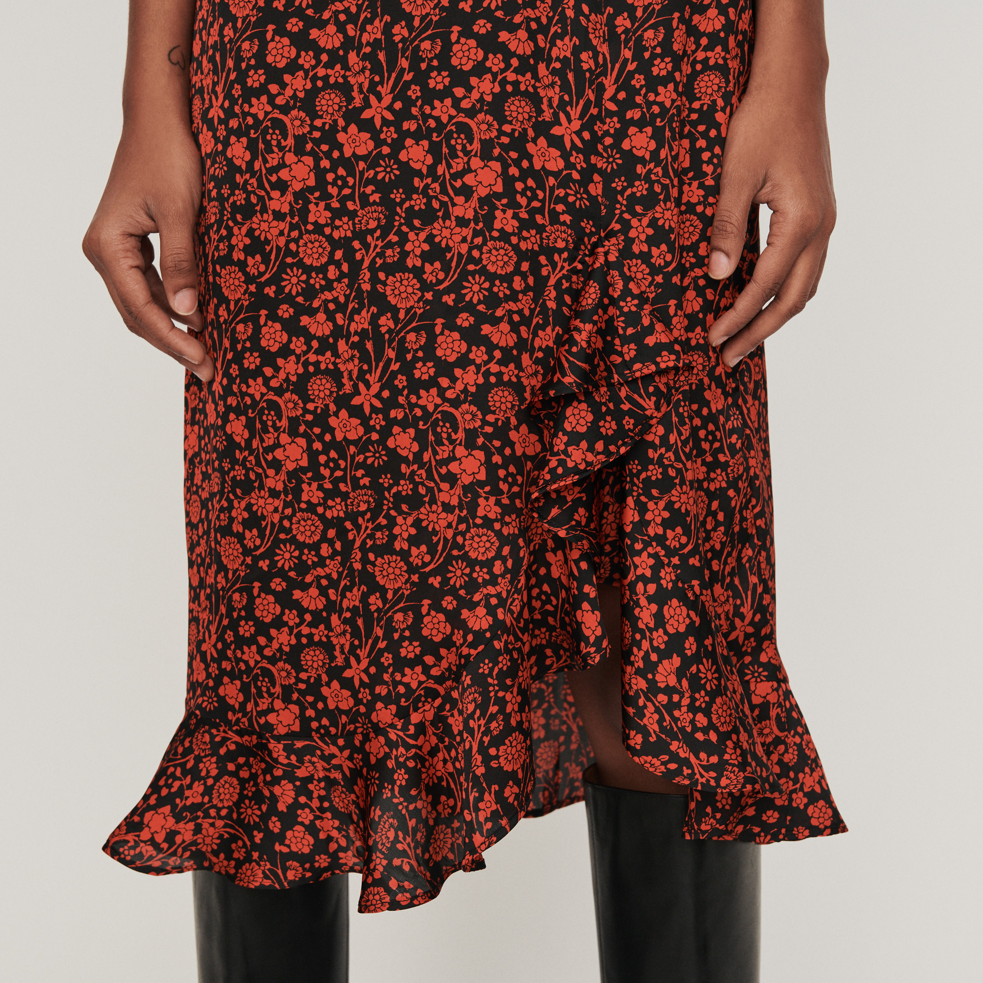 Printed satin skirt - Red