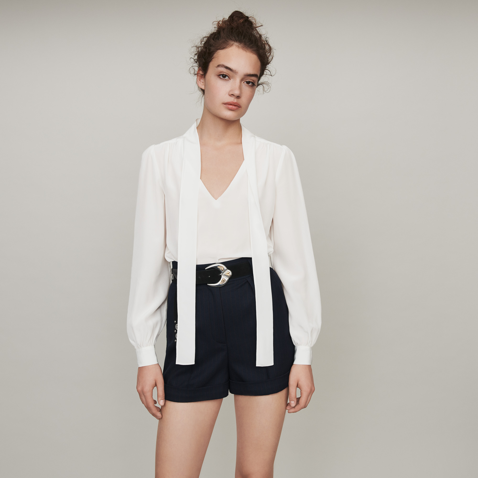 Pussycat bow silk top - White