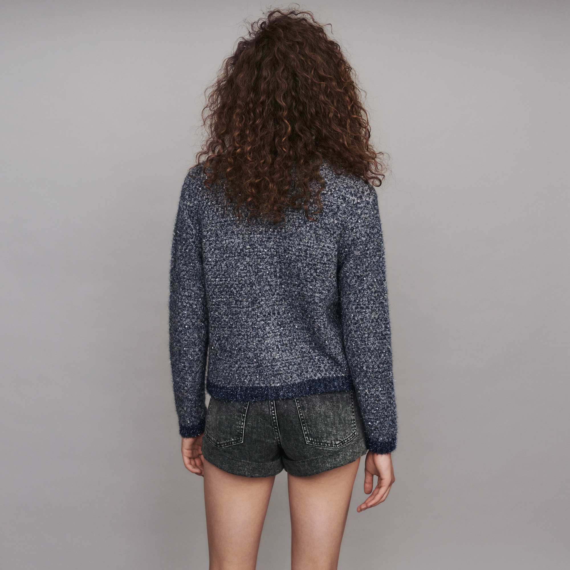 Fancy Lurex knit cardigan - Blue