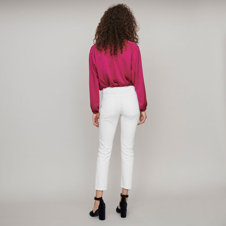 Straight cut ripped jeans with pockets - White