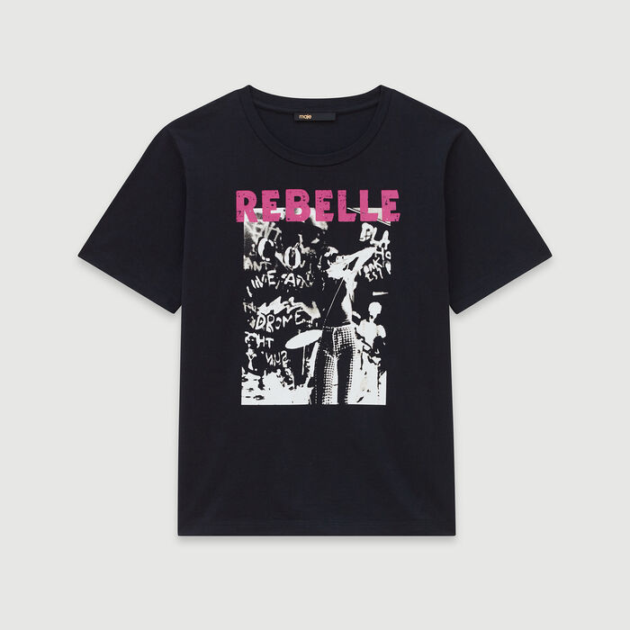 Silk screen printed tee shirt  - Black