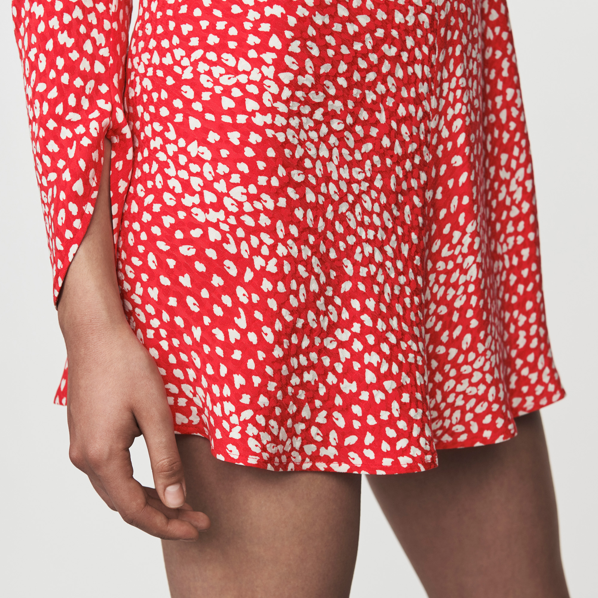 Jacquard printed gathered dress - Red
