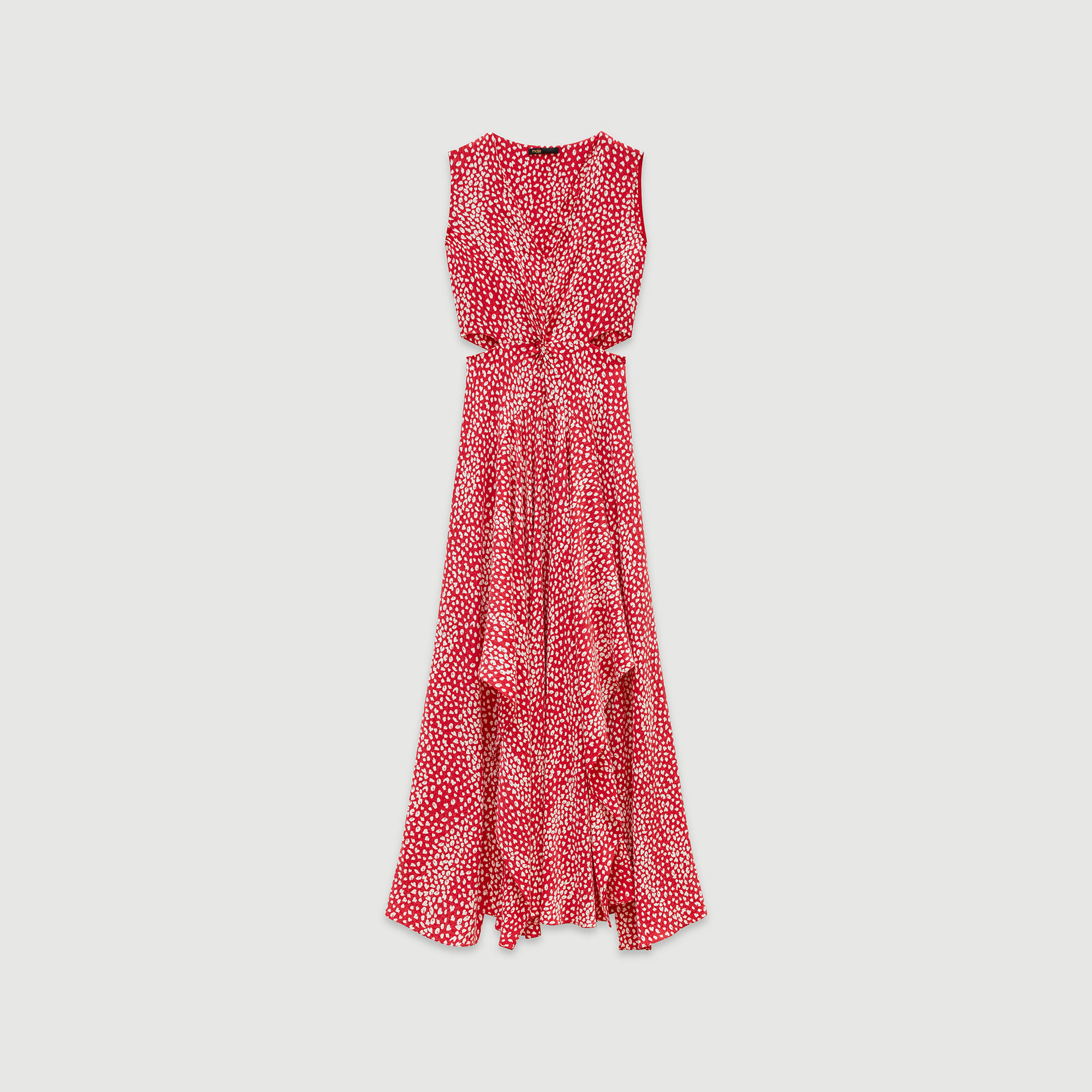 Jacquard printed long knotted dress - Red