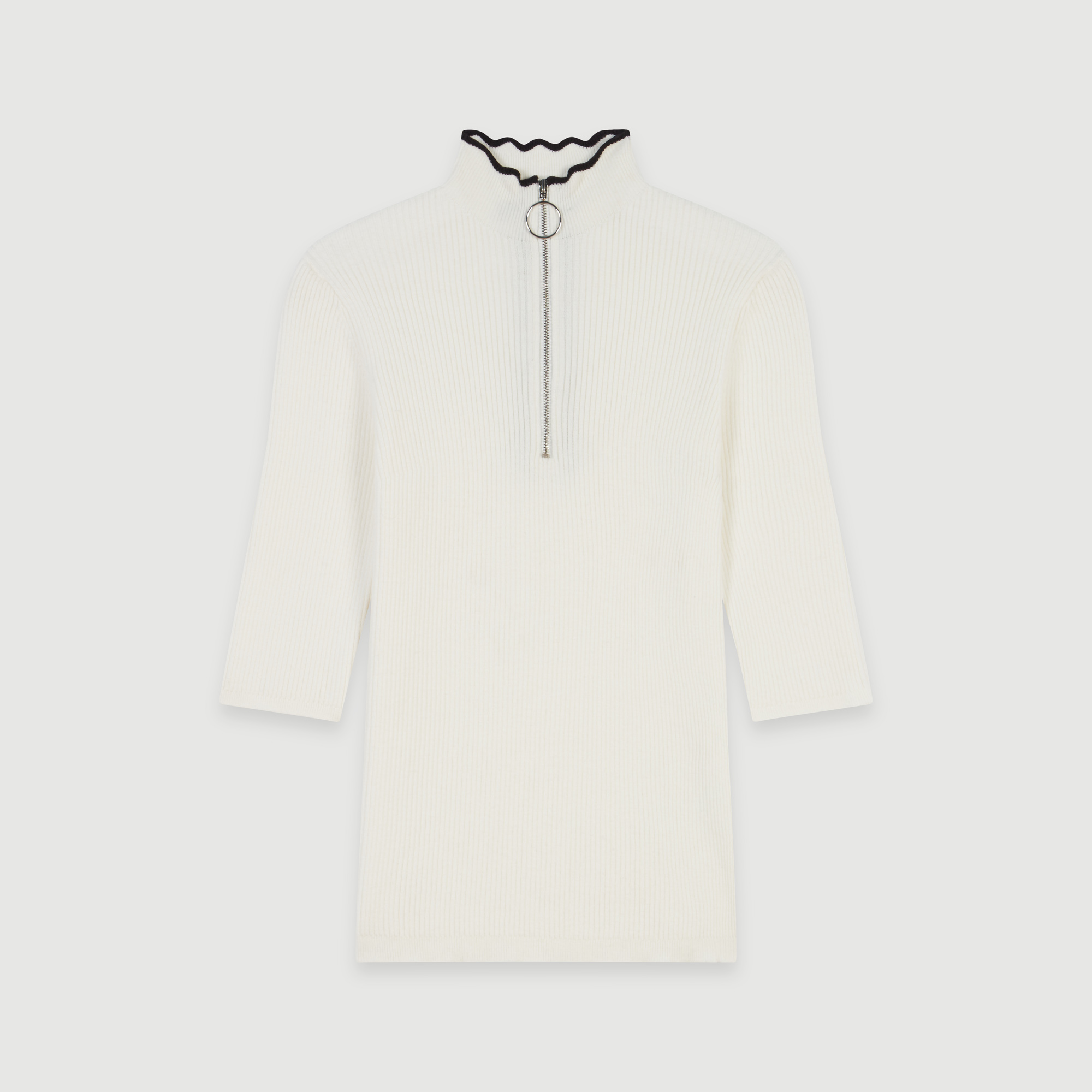 Fancy And Zipped Light Polo Sweater - Ecru