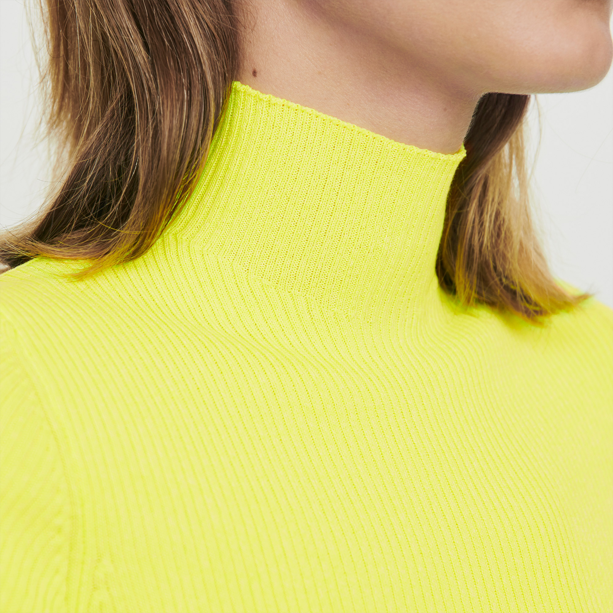 Ribbed Fluo Turtleneck Sweater - Yellow
