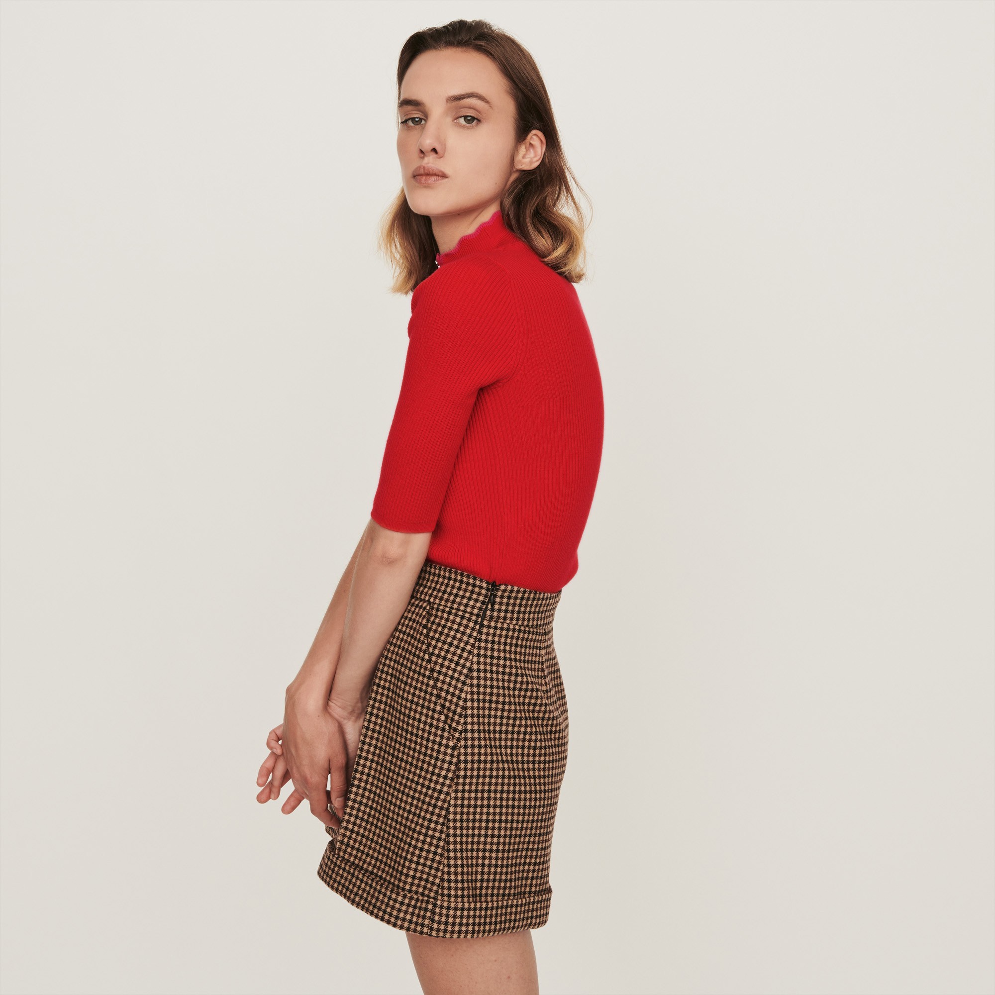 Fancy And Zipped Light Polo Sweater - Red