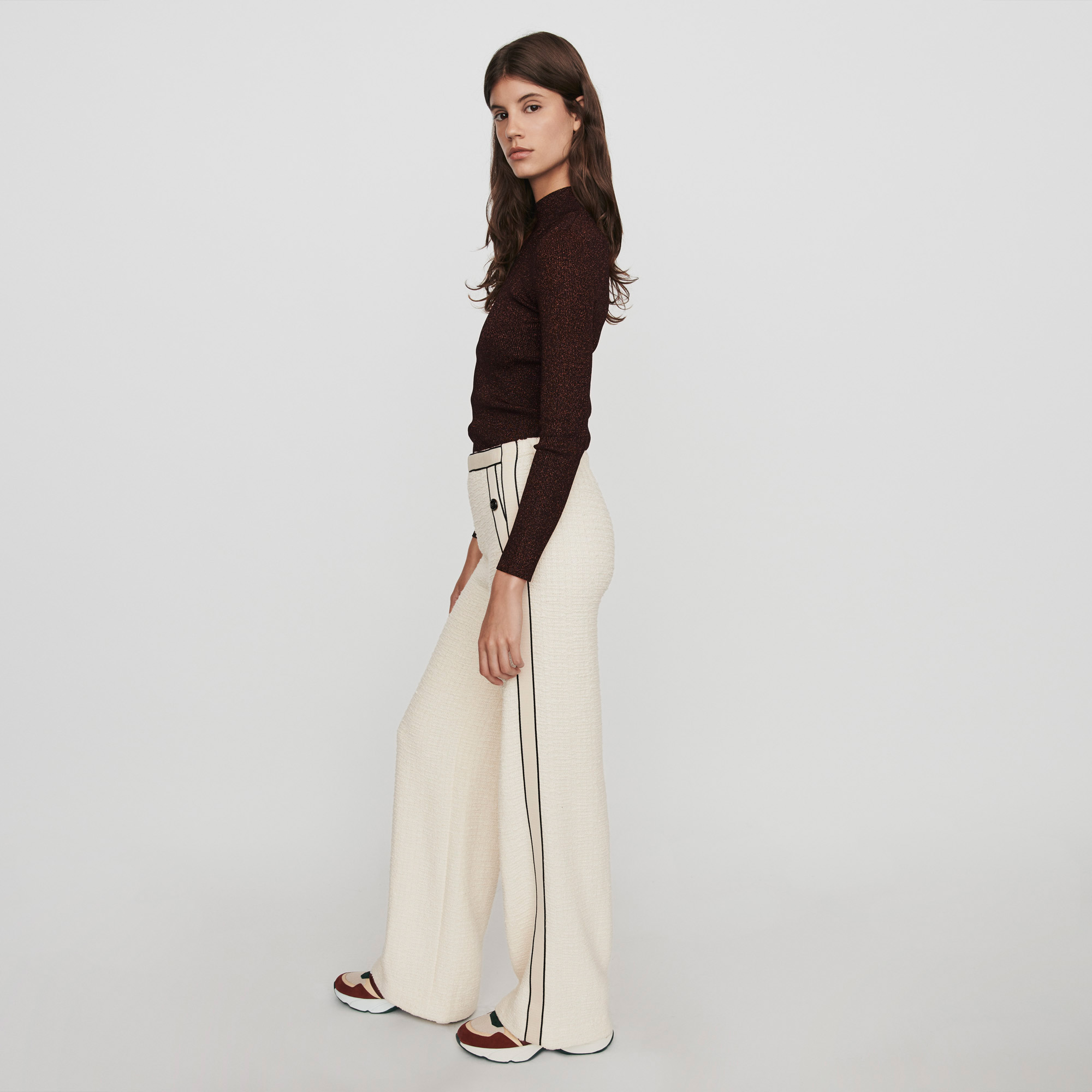 Tweed Style Contrast Wide Leg Pants - Ecru