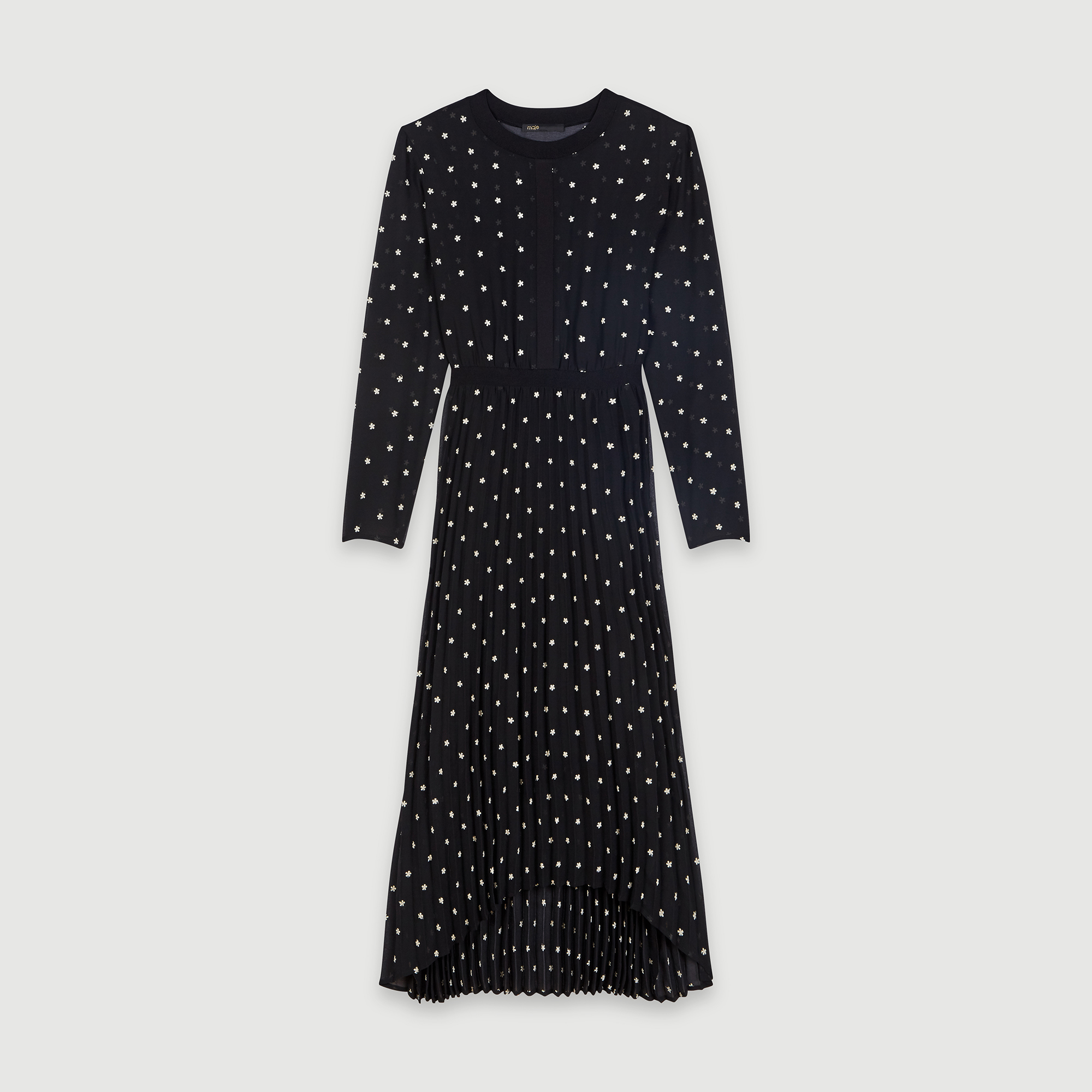 Long pleated dress with embroidery - Black