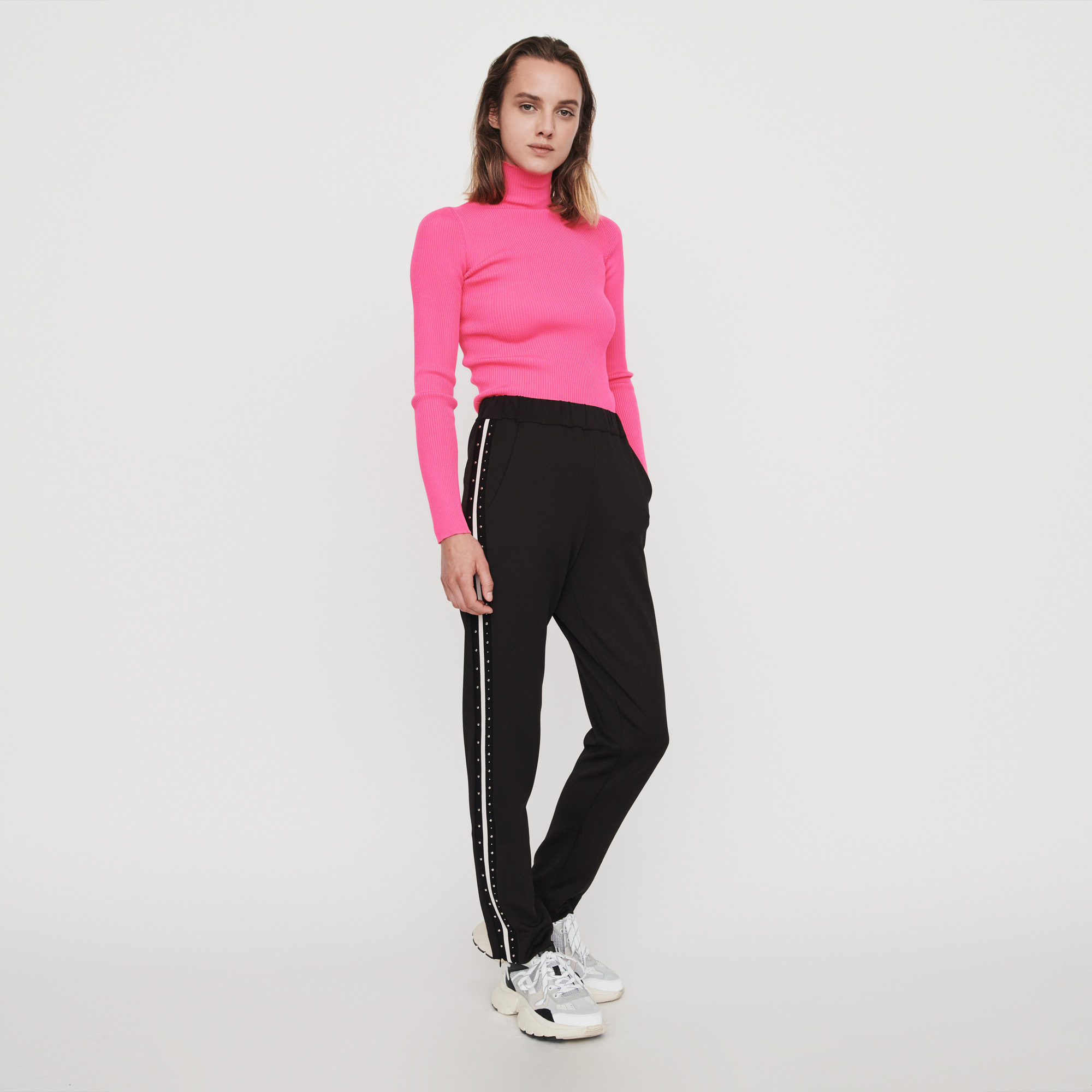 Studded Pants With Contrasting Stripes - Black